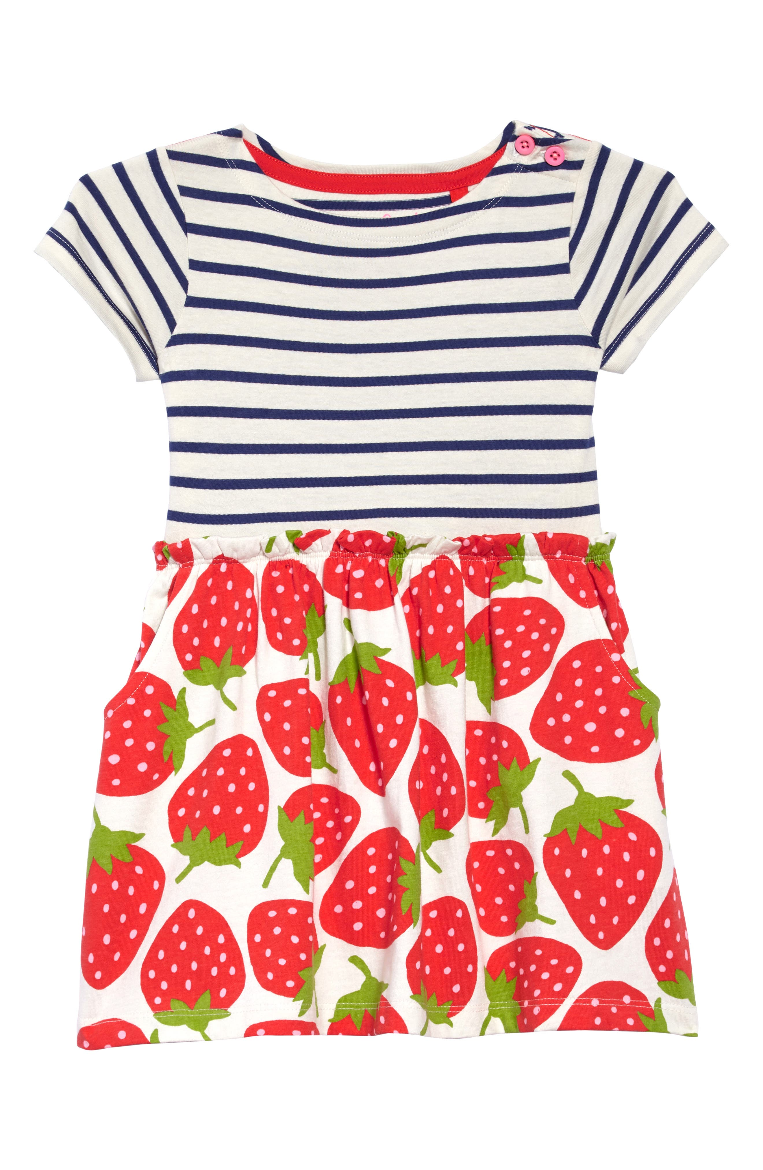 Stripe & Strawberries Print Dress,                         Main,                         color, 909