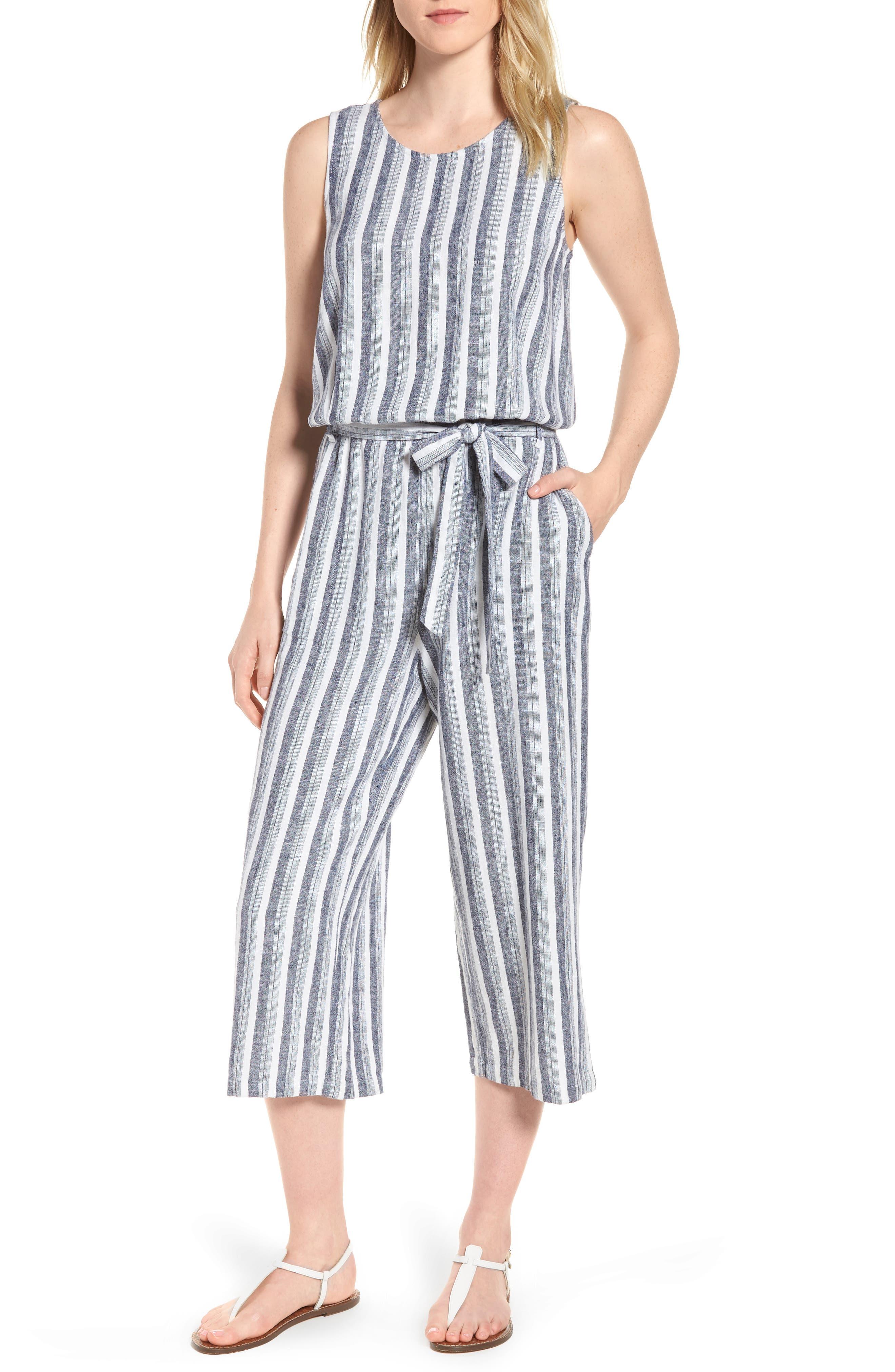 Shore Stripe Linen Blend Jumpsuit,                         Main,                         color, 145