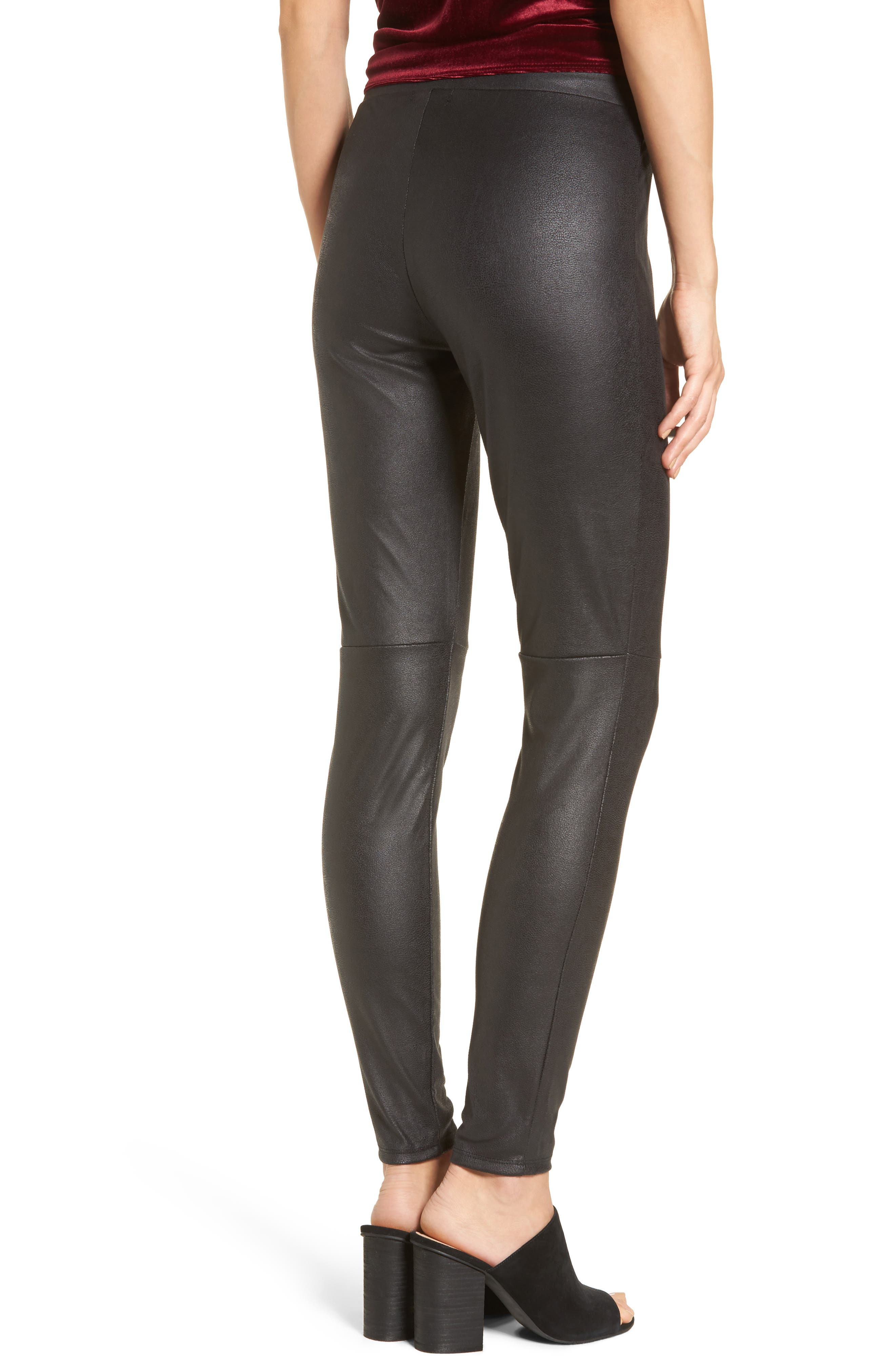 Faux Leather Leggings,                             Alternate thumbnail 2, color,                             001