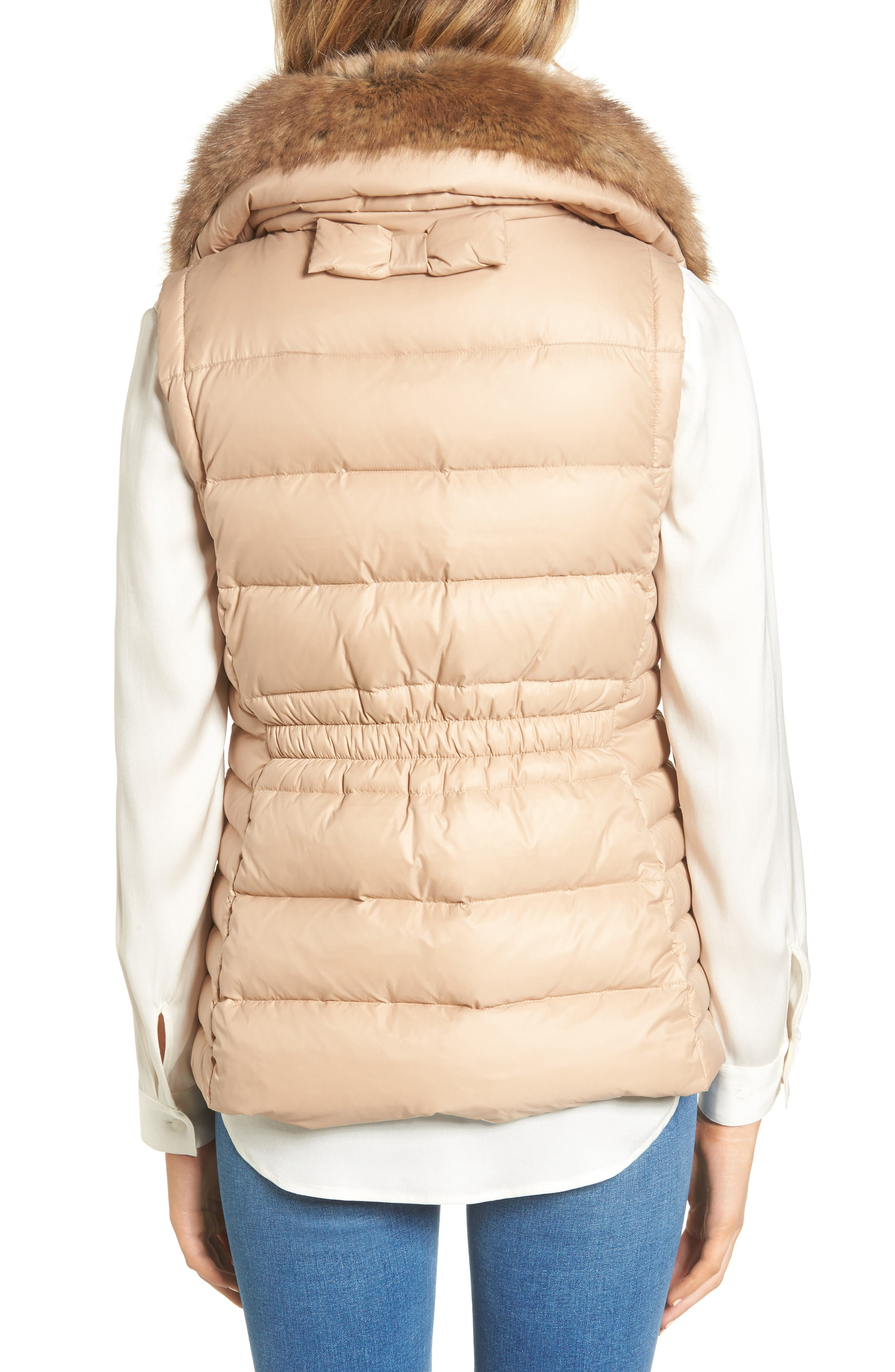 quilted puffer down vest with faux fur trim,                             Alternate thumbnail 6, color,