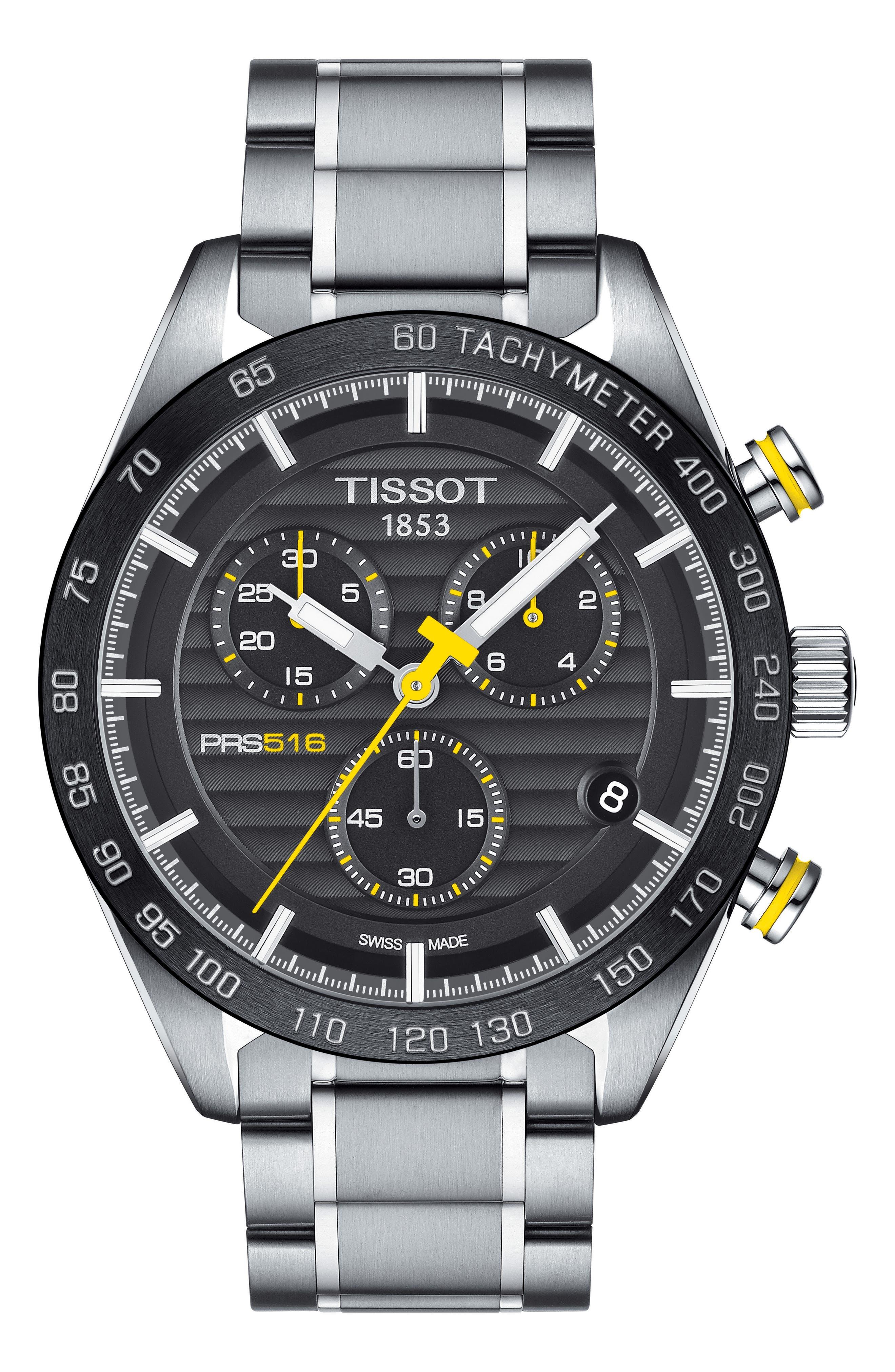 PRS516 Chronograph Bracelet Watch, 42mm,                             Main thumbnail 1, color,                             SILVER/ BLACK