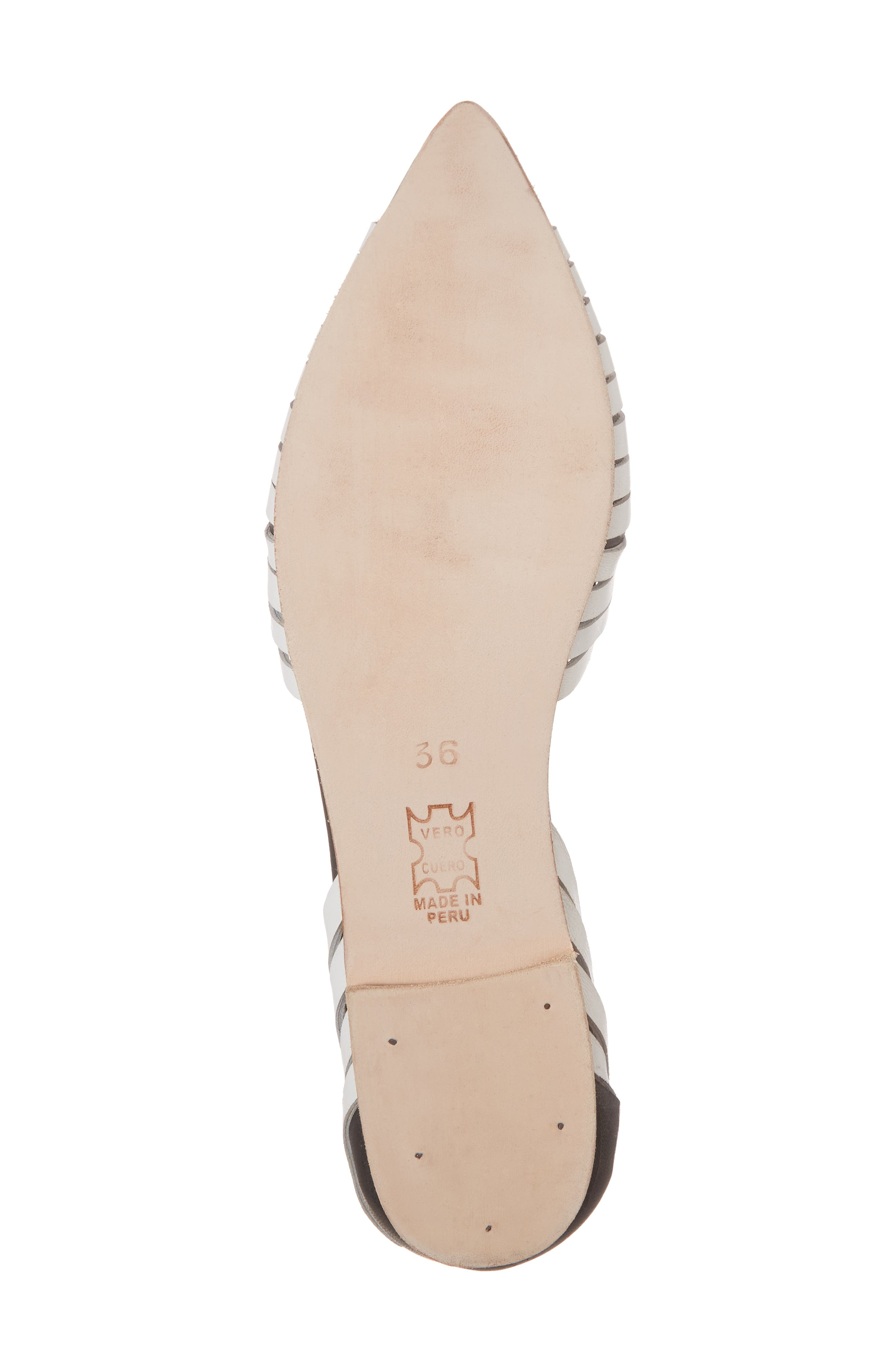 Hollis Huarache Ankle Tie Flat,                             Alternate thumbnail 6, color,                             BLACK/ WHITE LEATHER