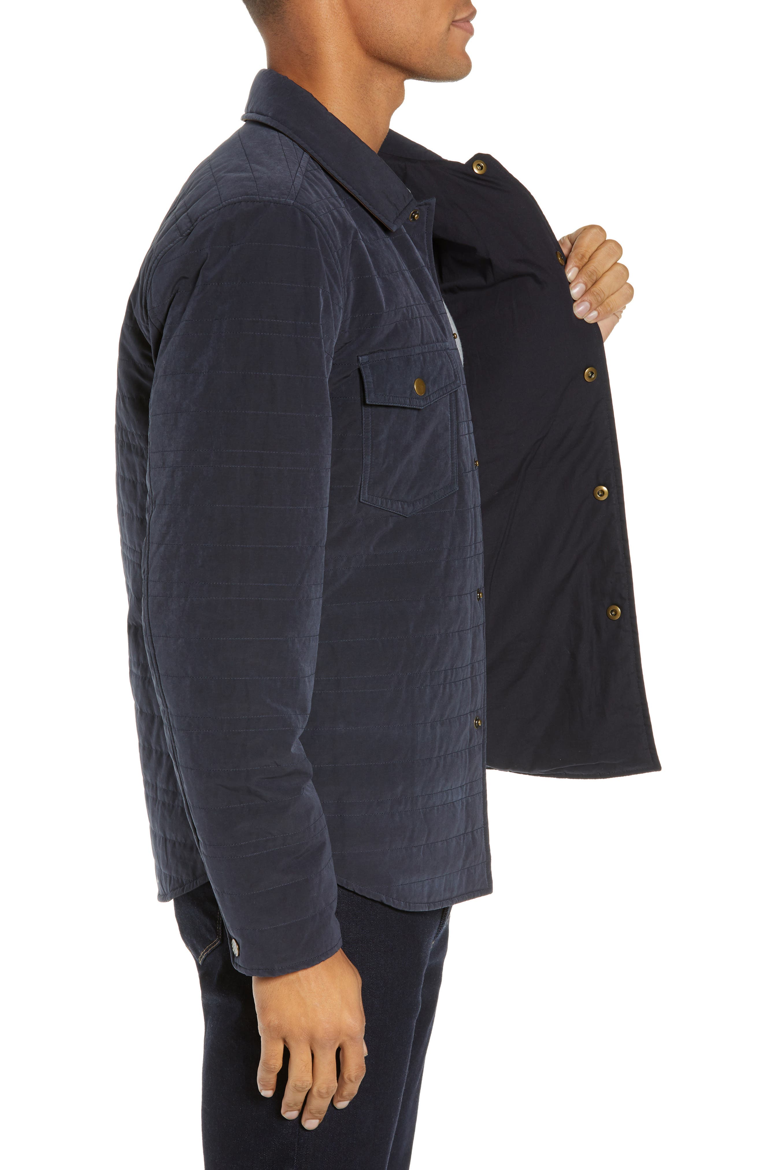 Michael Slim Fit Quilted Shirt Jacket,                             Alternate thumbnail 3, color,                             NAVY