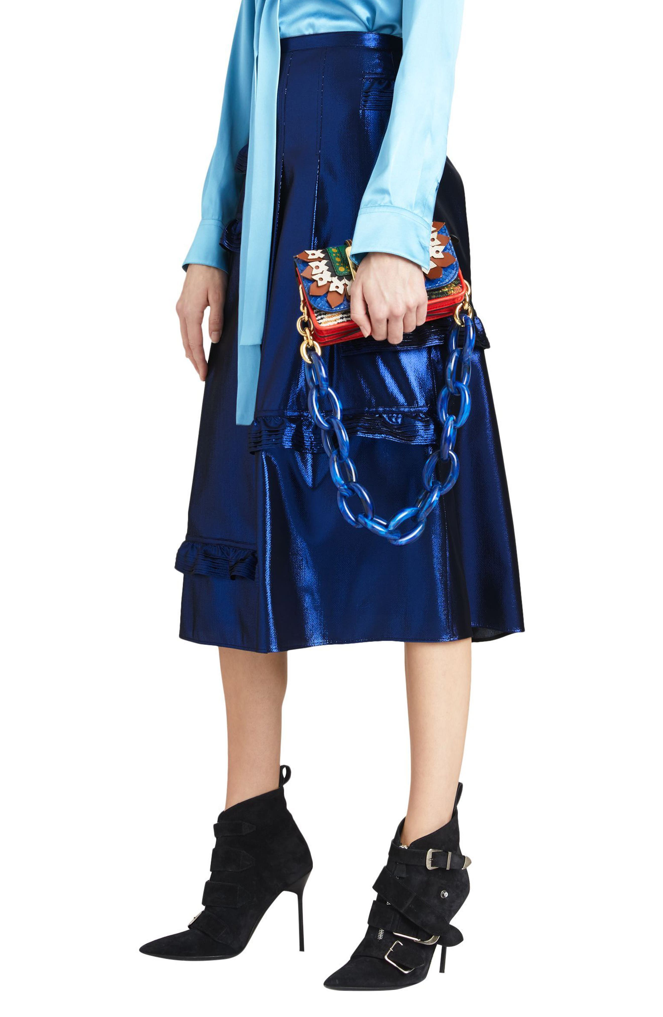 Merse Metallic Ruffle Skirt,                             Main thumbnail 1, color,                             410