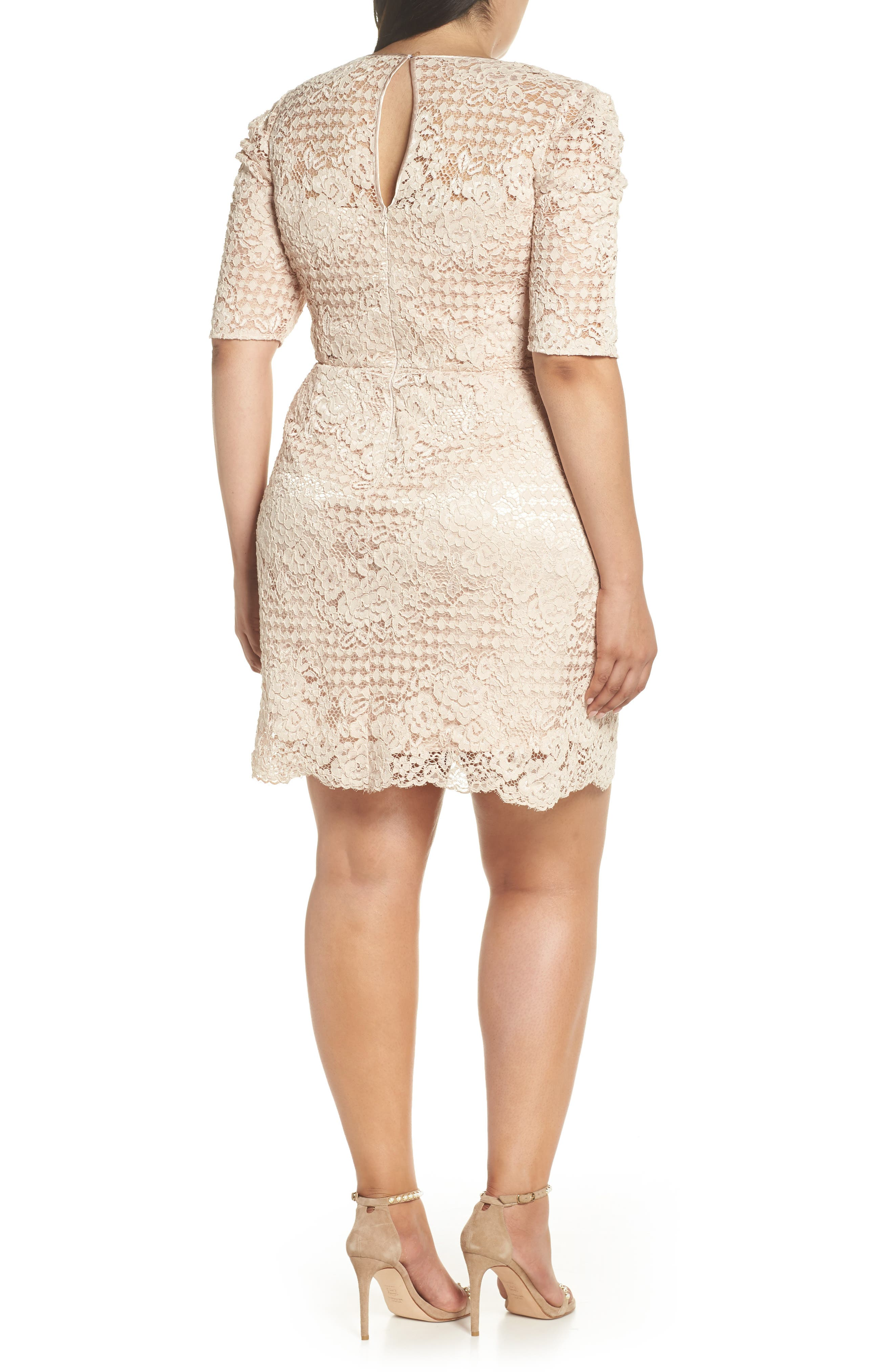 Ruched Sleeve Lace Dress,                             Alternate thumbnail 9, color,                             PINK BLUSH