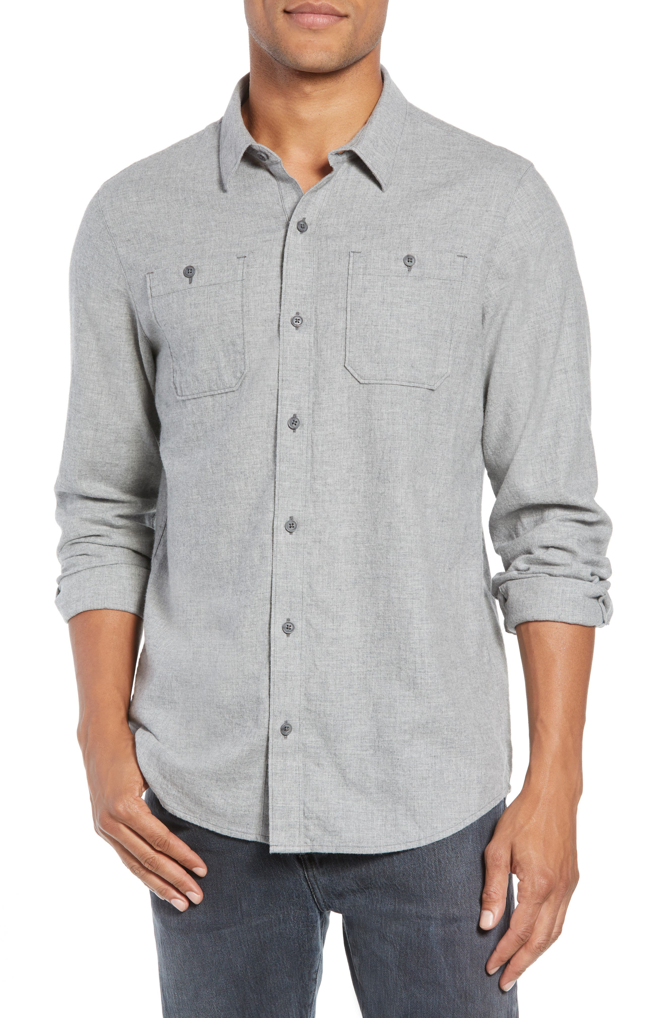 Hefe Regular Fit Flannel Sport Shirt,                             Main thumbnail 1, color,                             GREY QUITE SHADE