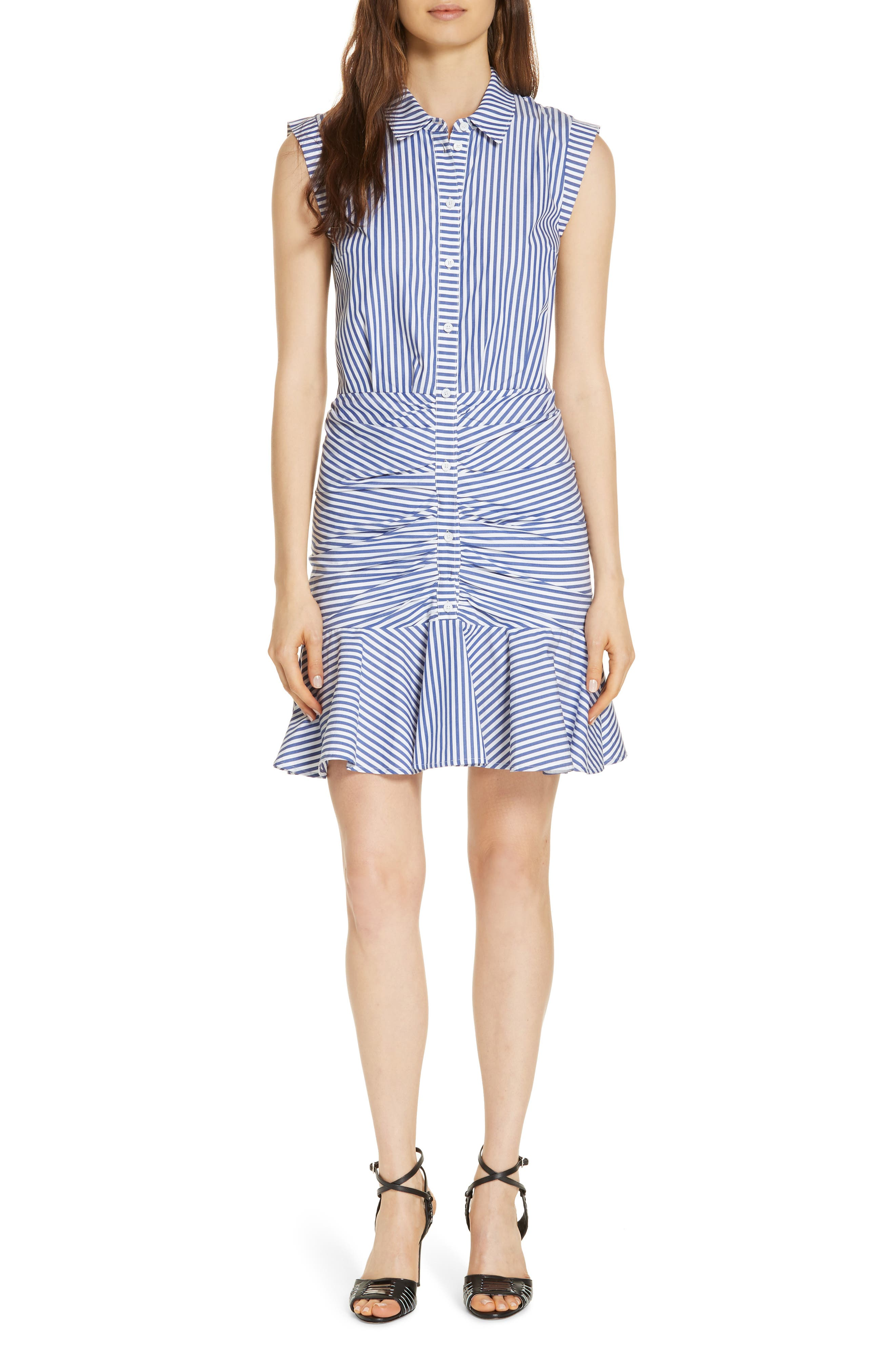 Bell Stripe Ruched Shirtdress,                             Alternate thumbnail 2, color,                             400
