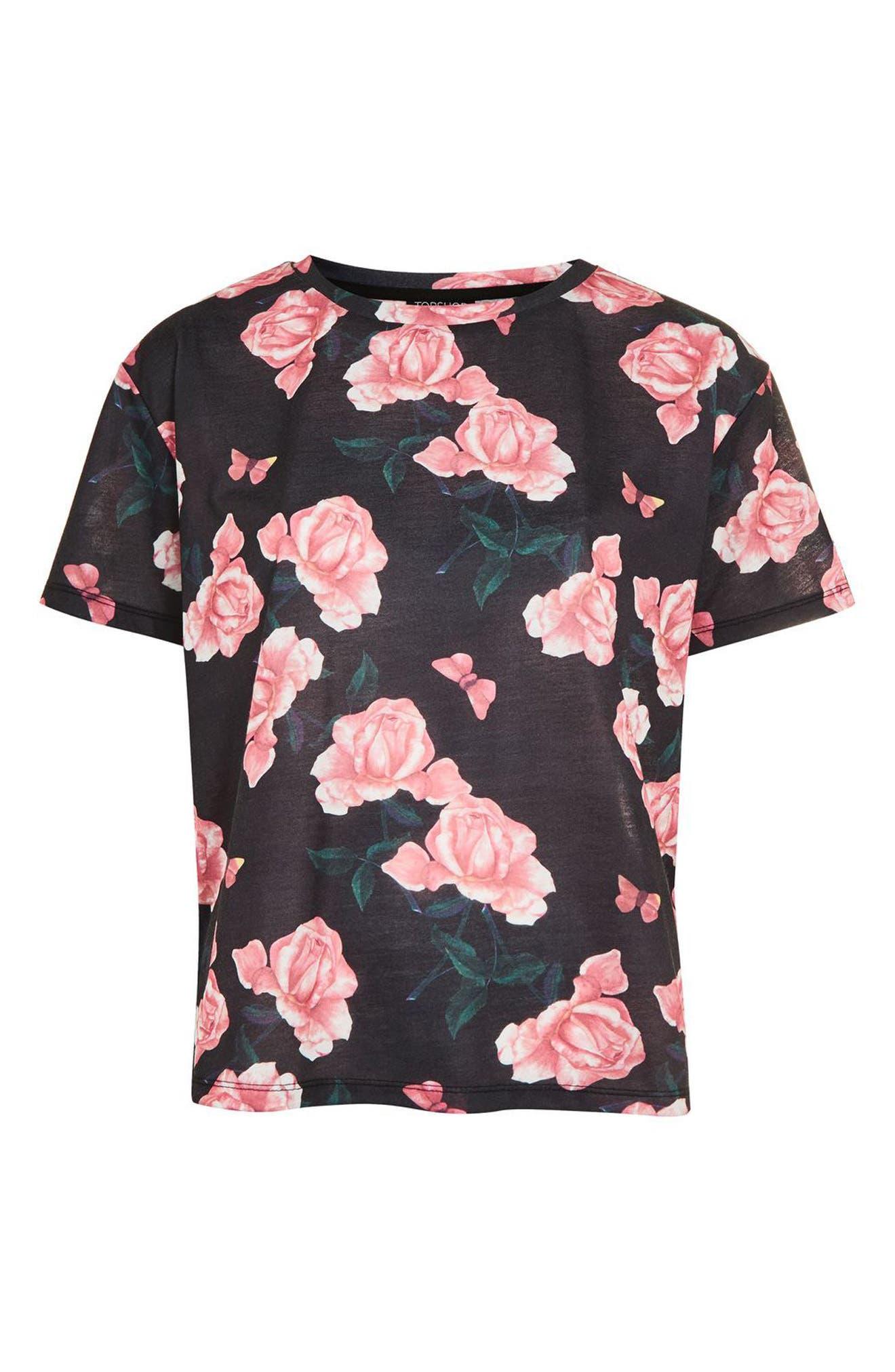 Rose Pajama Top,                             Alternate thumbnail 3, color,                             001