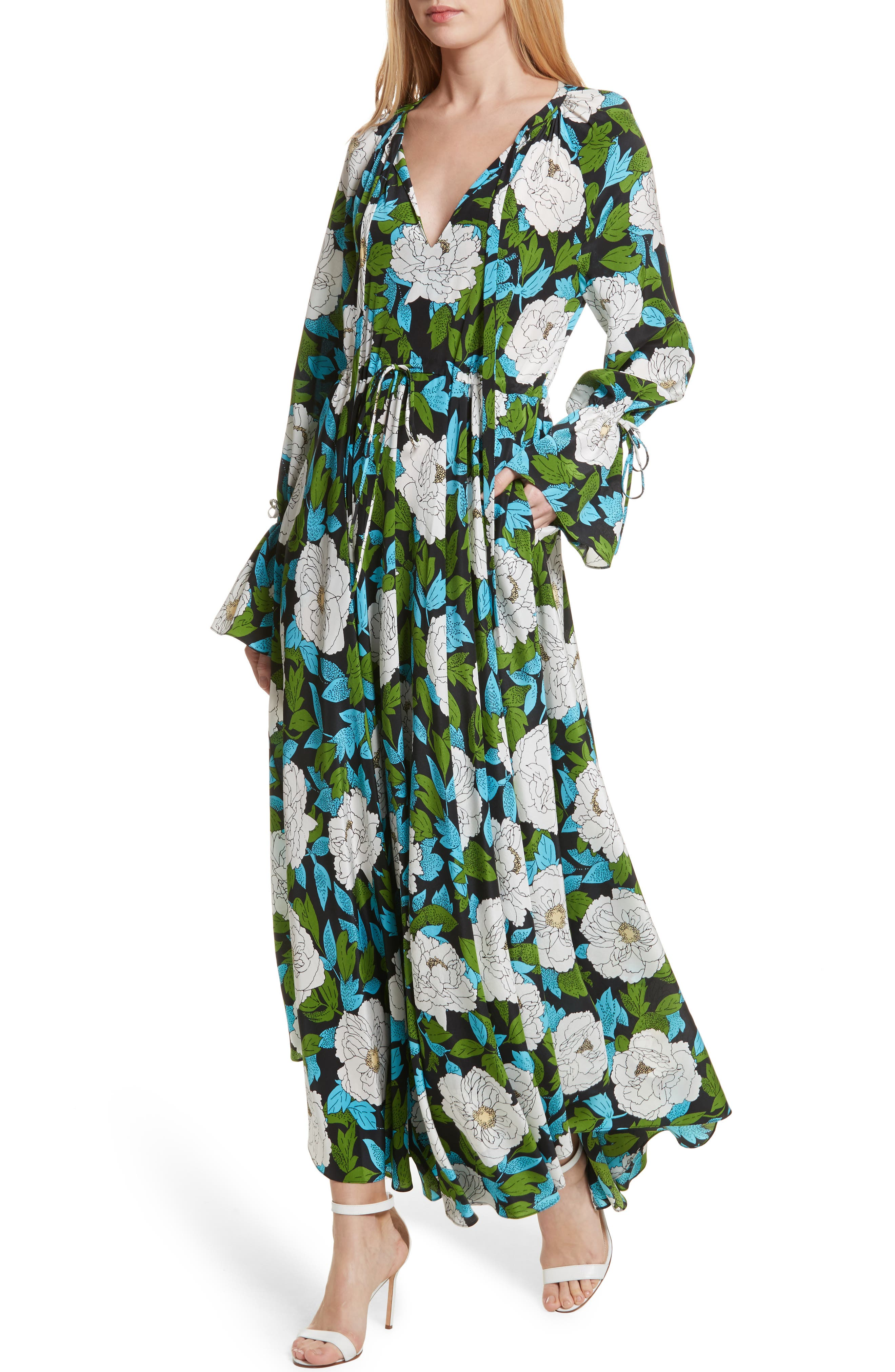 Diane von Furstenberg Floral Silk Maxi Dress,                             Alternate thumbnail 4, color,                             389