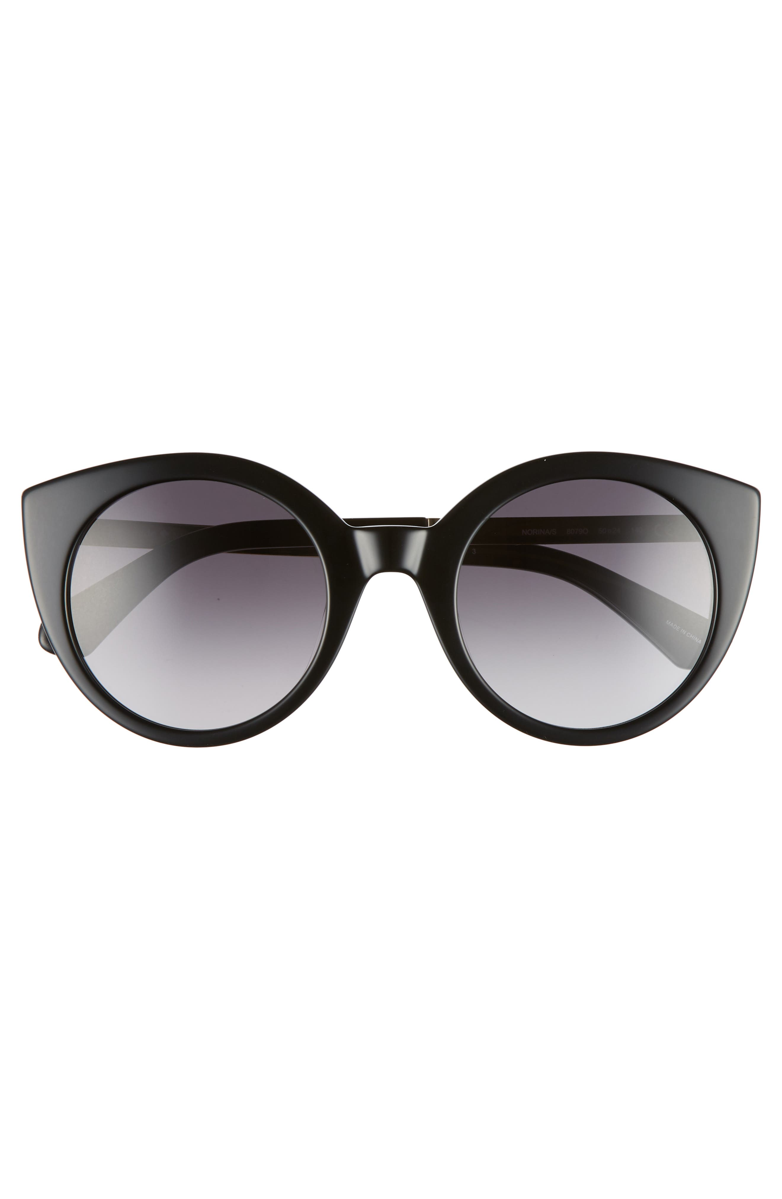 norinas 50mm cat eye sunglasses,                             Alternate thumbnail 3, color,                             001