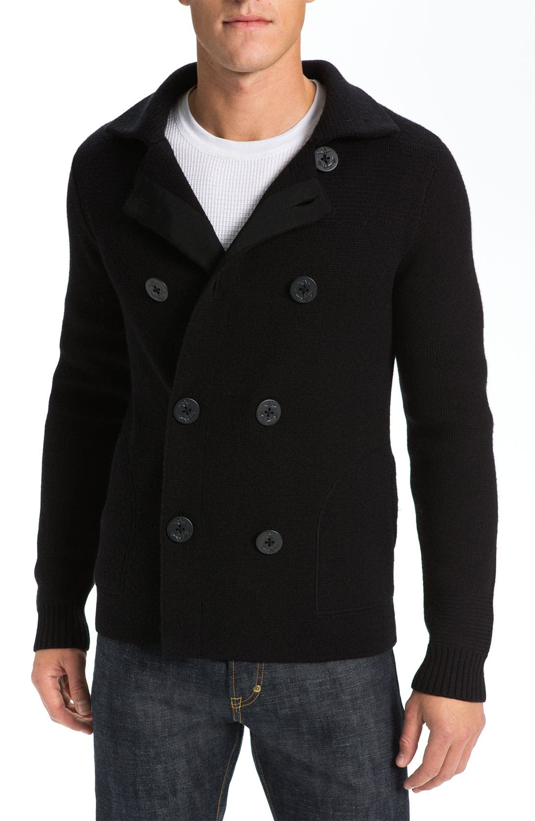 VINCE,                             Wool Peacoat Sweater,                             Main thumbnail 1, color,                             001