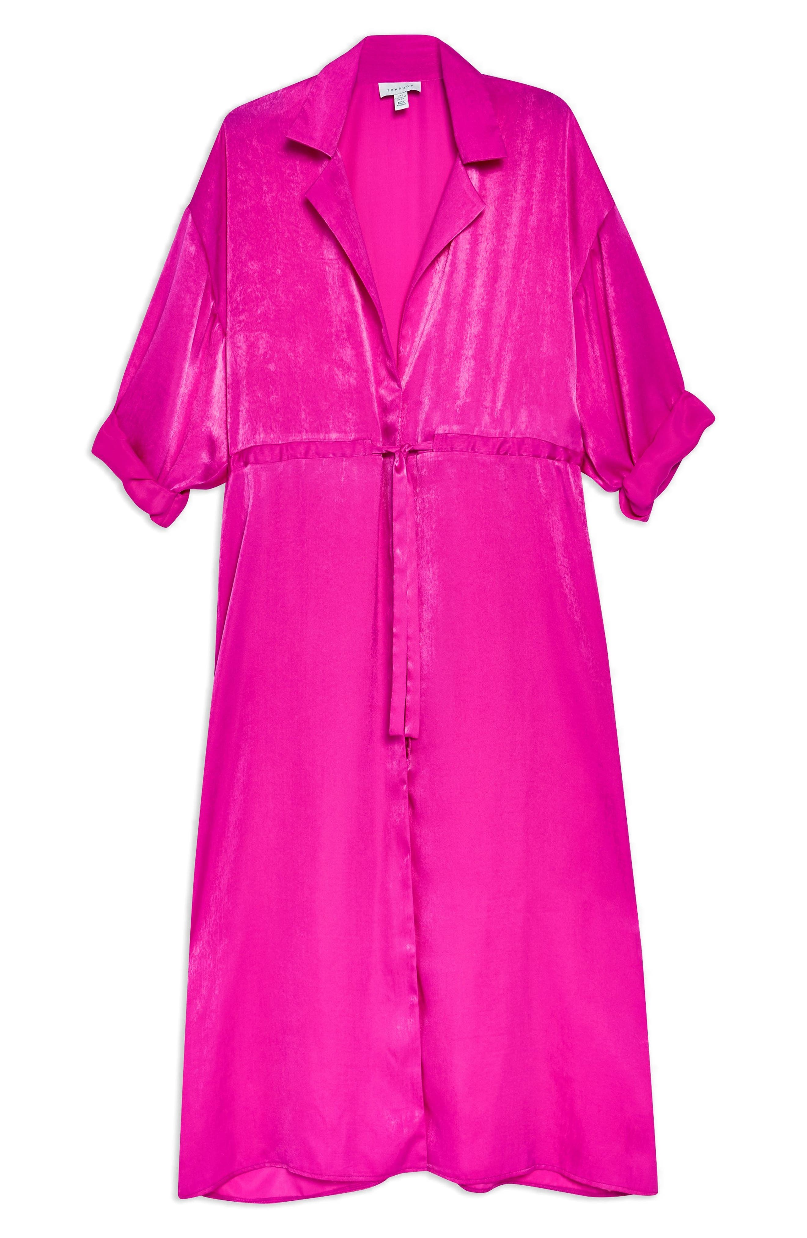 TOPSHOP,                             Satin Midi Shirtdress,                             Alternate thumbnail 3, color,                             BRIGHT PINK