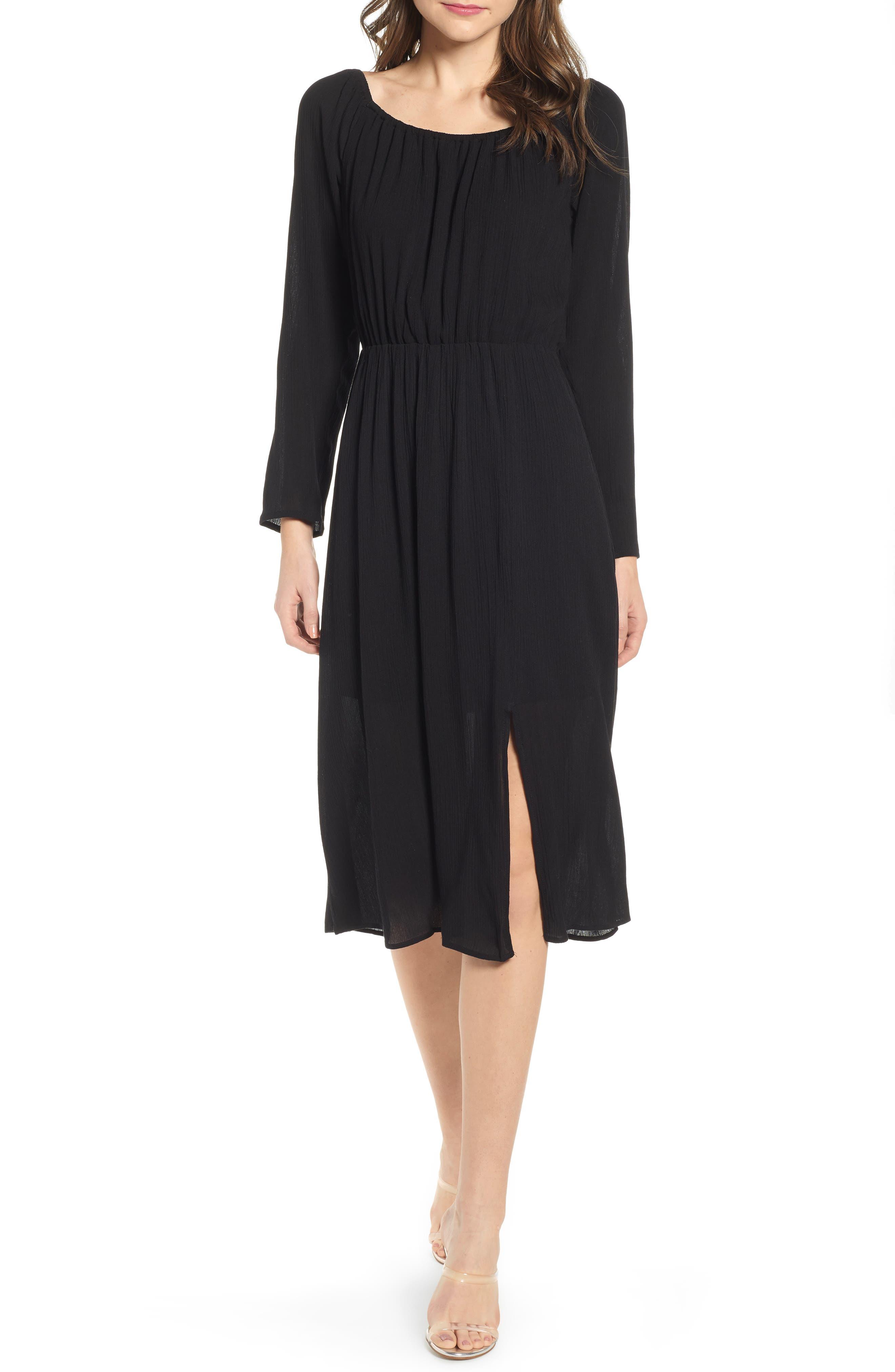 Wayf Navaeh Midi Dress, Black