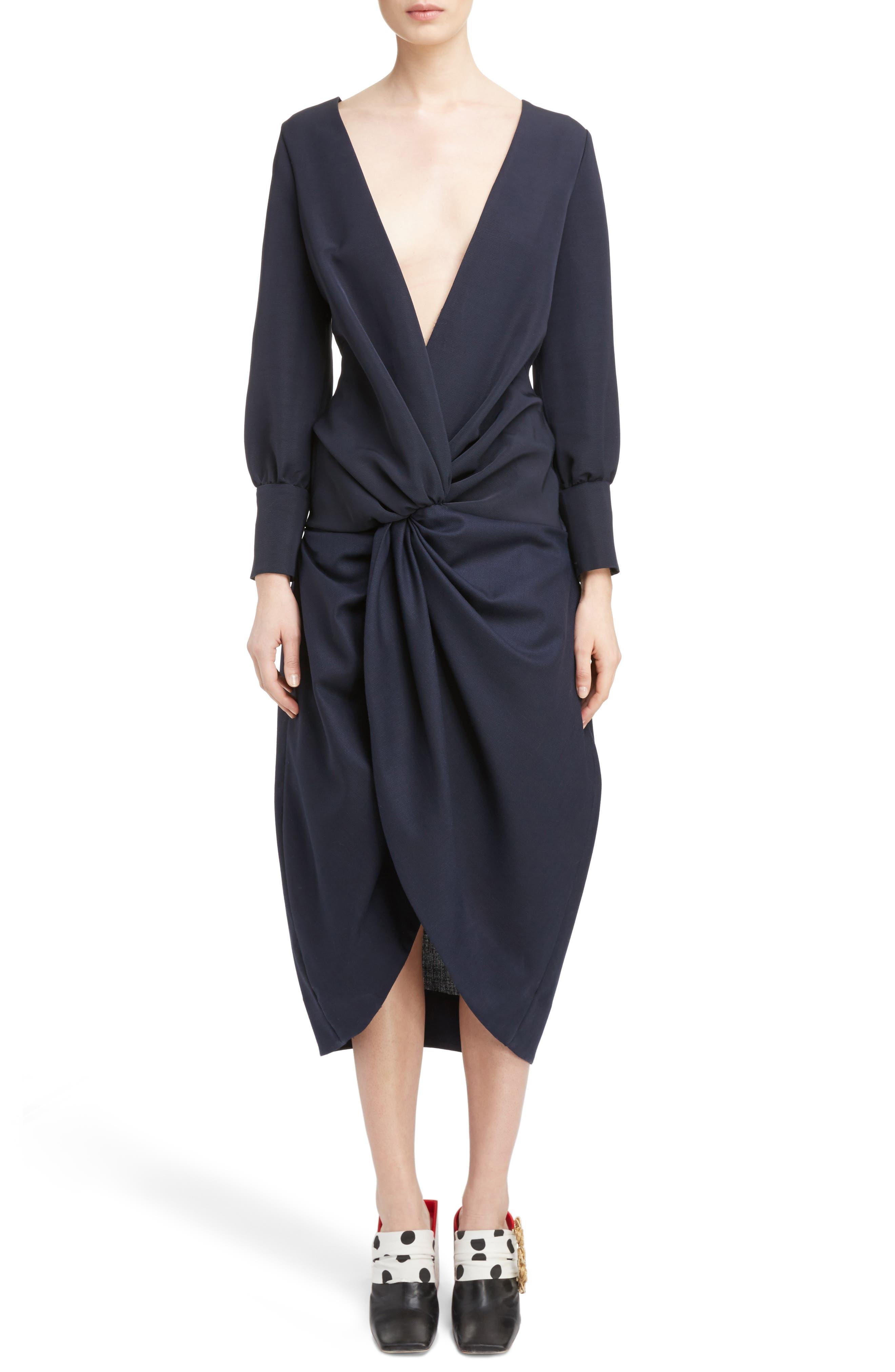 Ruched Long Sleeve Dress,                             Main thumbnail 1, color,                             410