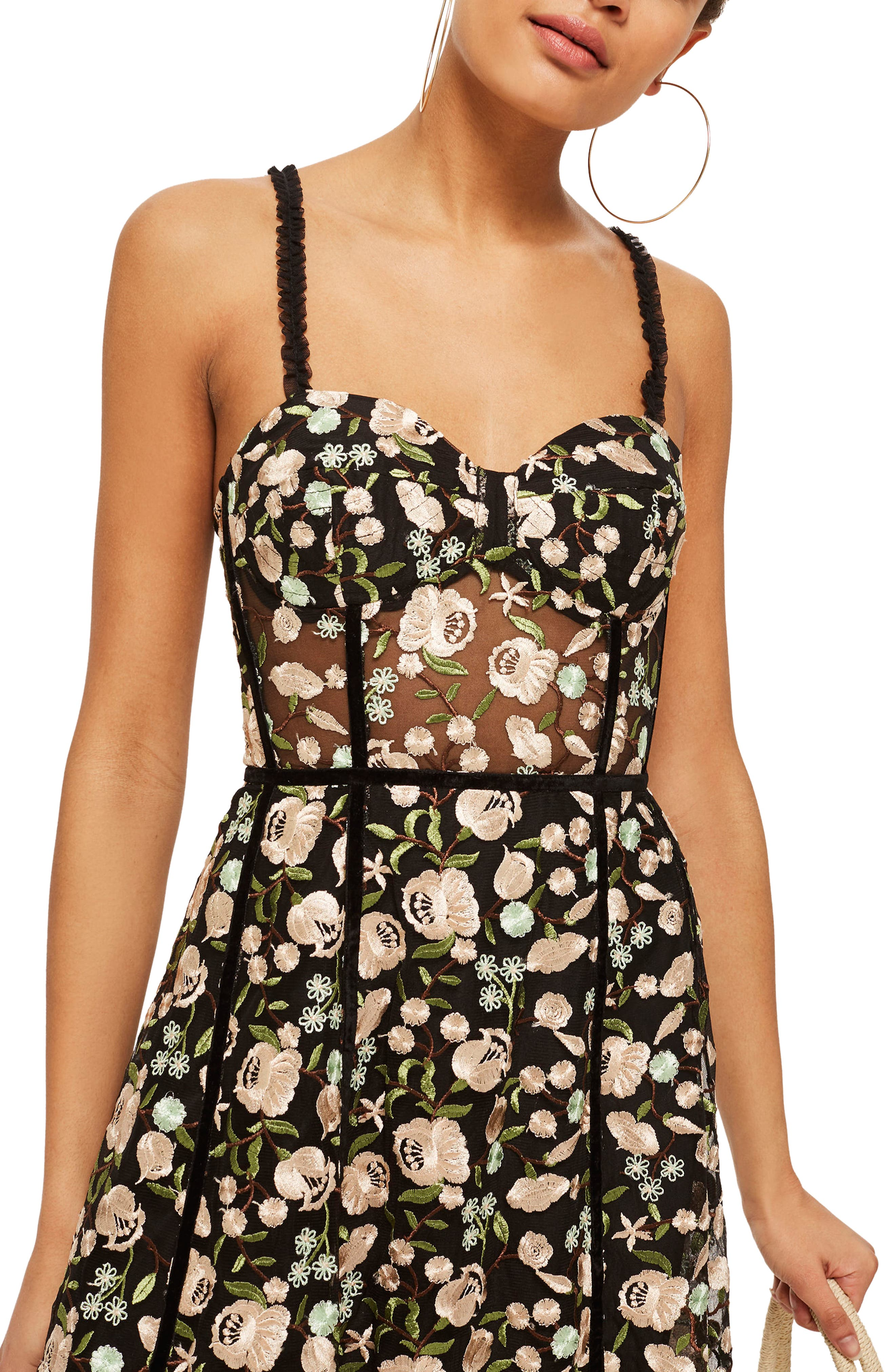 Floral Corset Midi Dress,                             Alternate thumbnail 3, color,