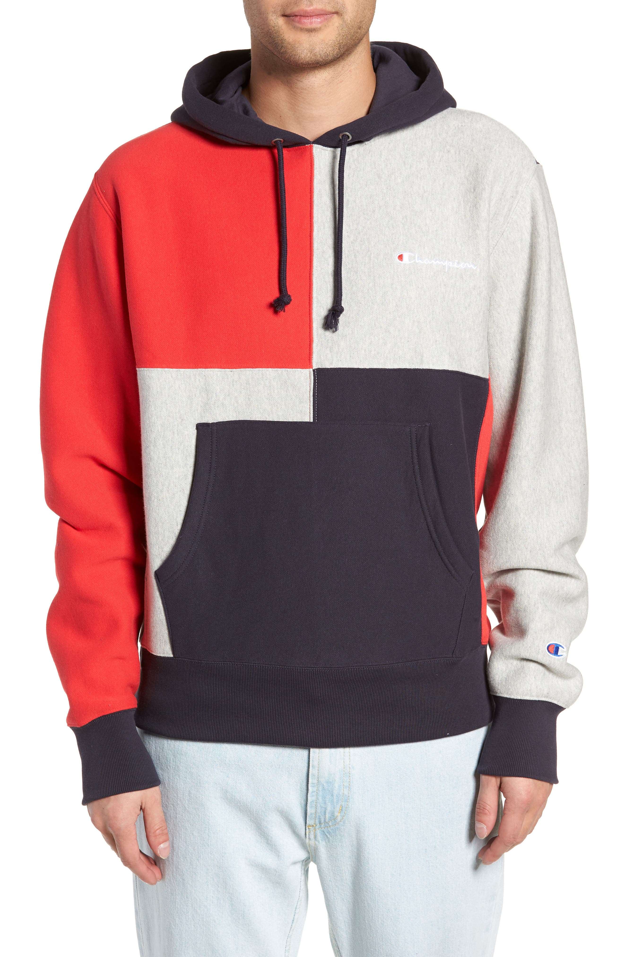 Colorblock Hoodie,                         Main,                         color, NAVY/ OXFORD GREY/ SCARLET