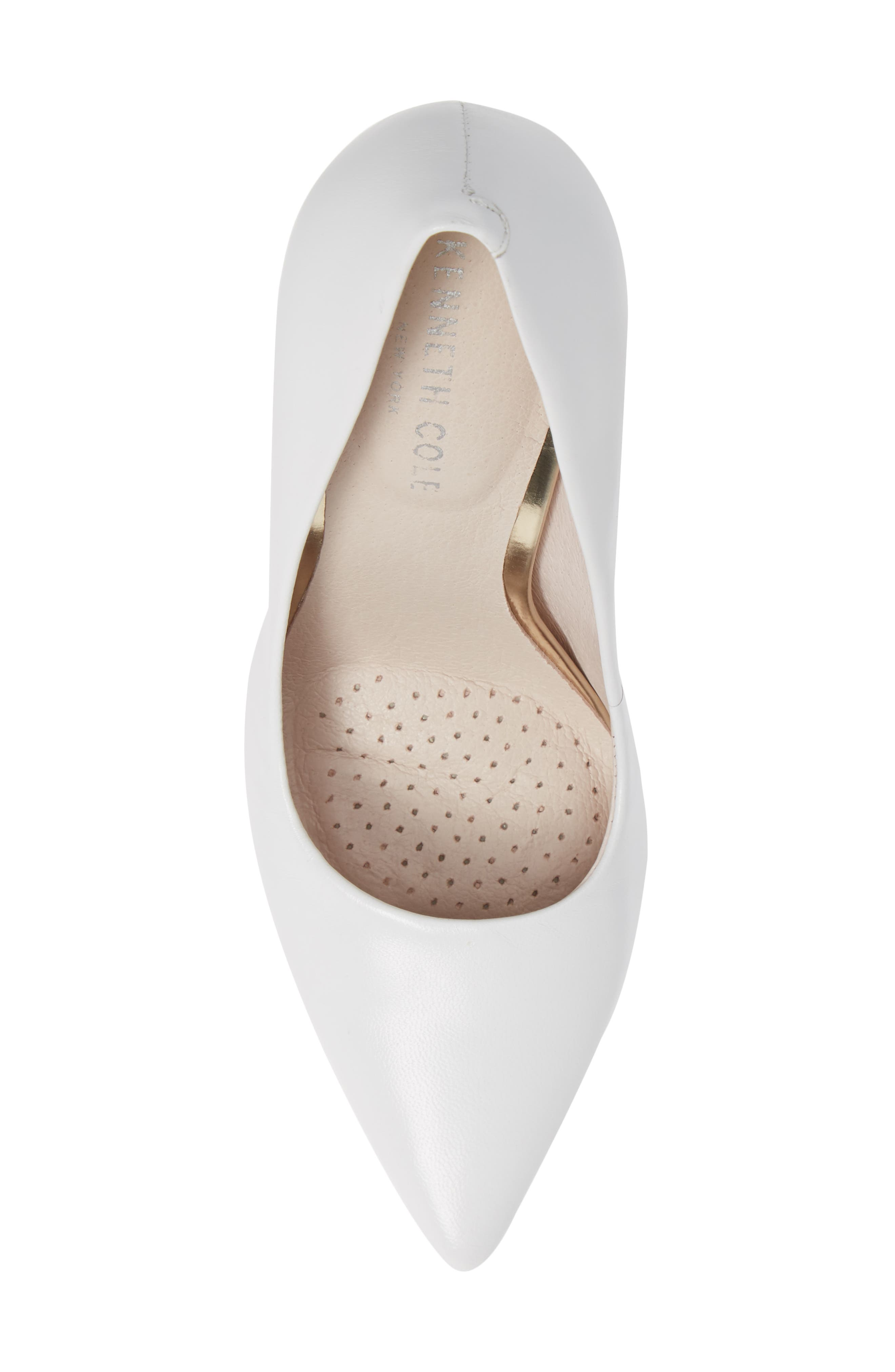 Riley 110 Pointy Toe Pump,                             Alternate thumbnail 5, color,                             WHITE LEATHER