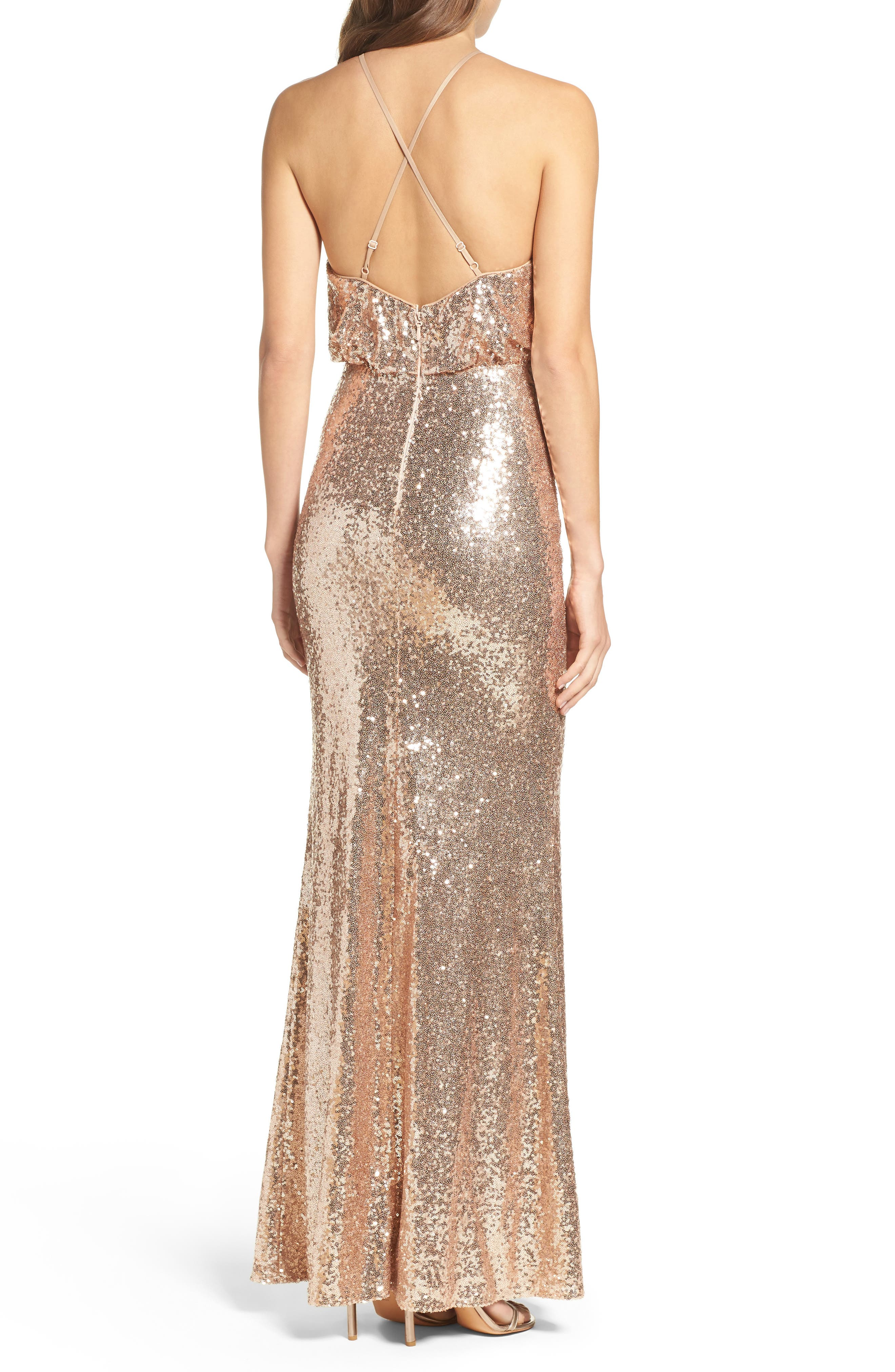 Strappy Sequin Blouson Gown,                             Alternate thumbnail 2, color,