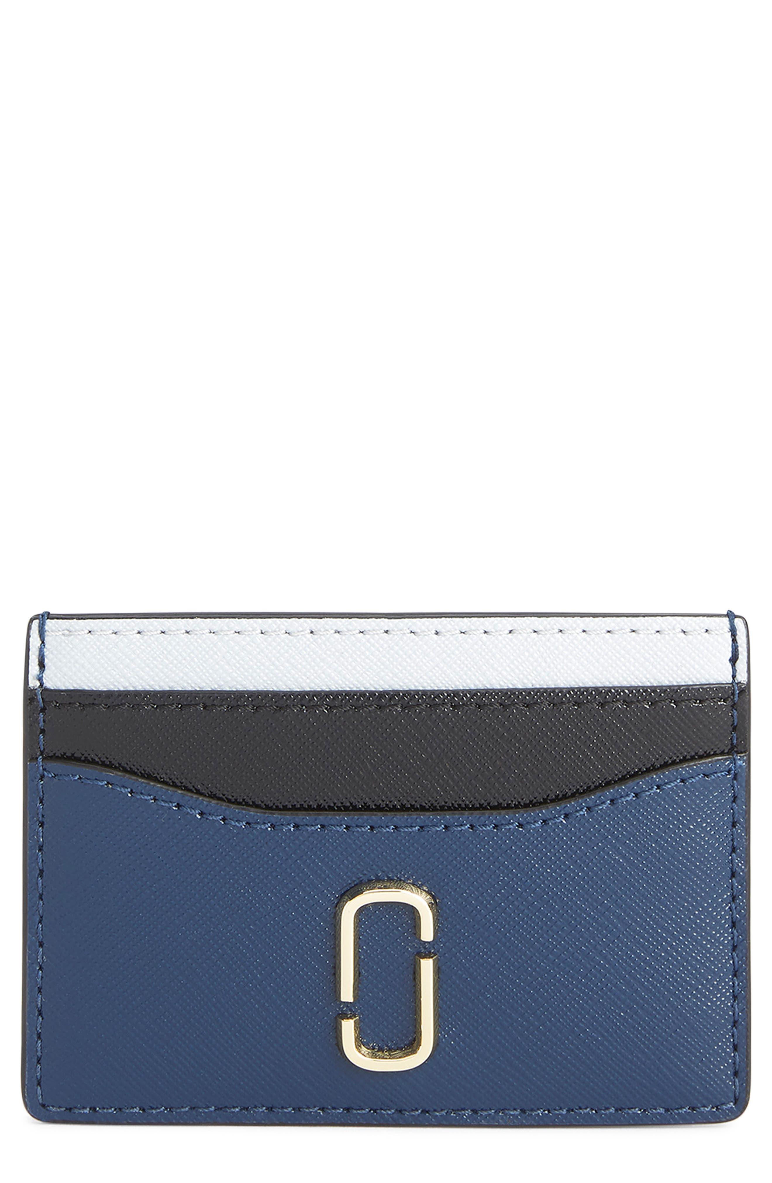 Snapshot Saffiano Leather Card Case,                         Main,                         color, BLUE SEA MULTI