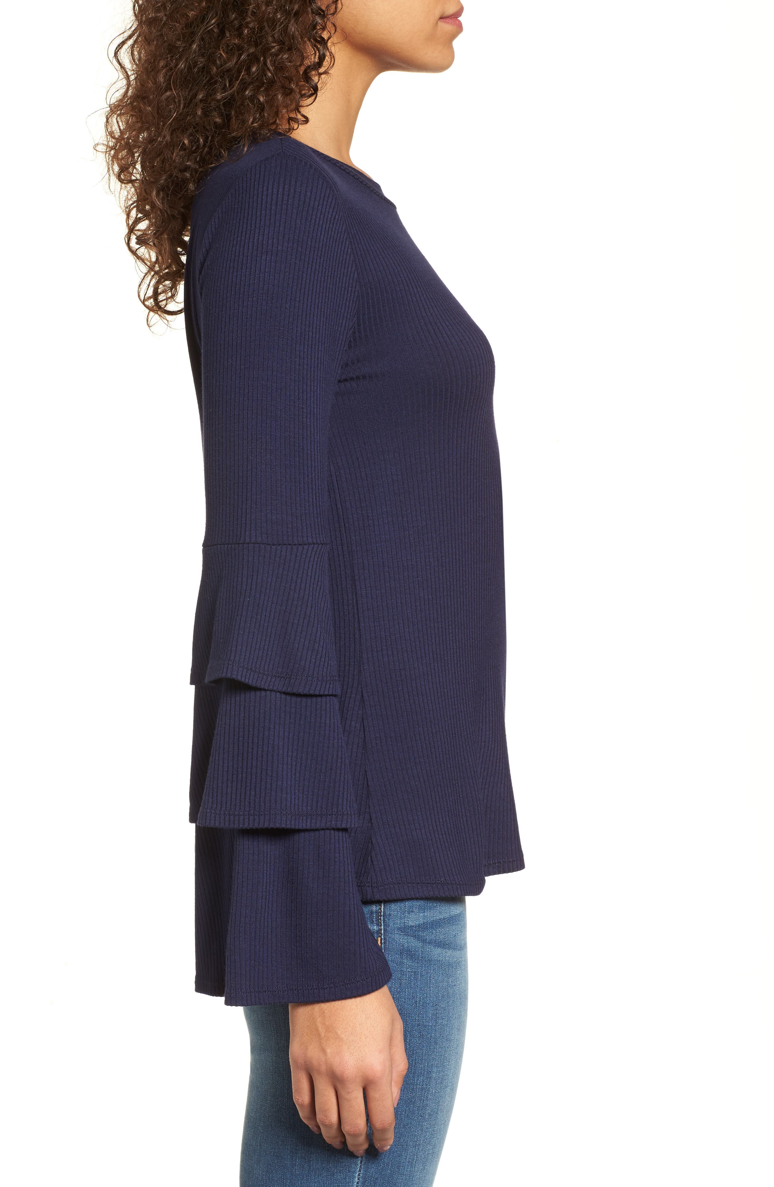 Ruffle Sleeve Ribbed Sweater,                             Alternate thumbnail 10, color,