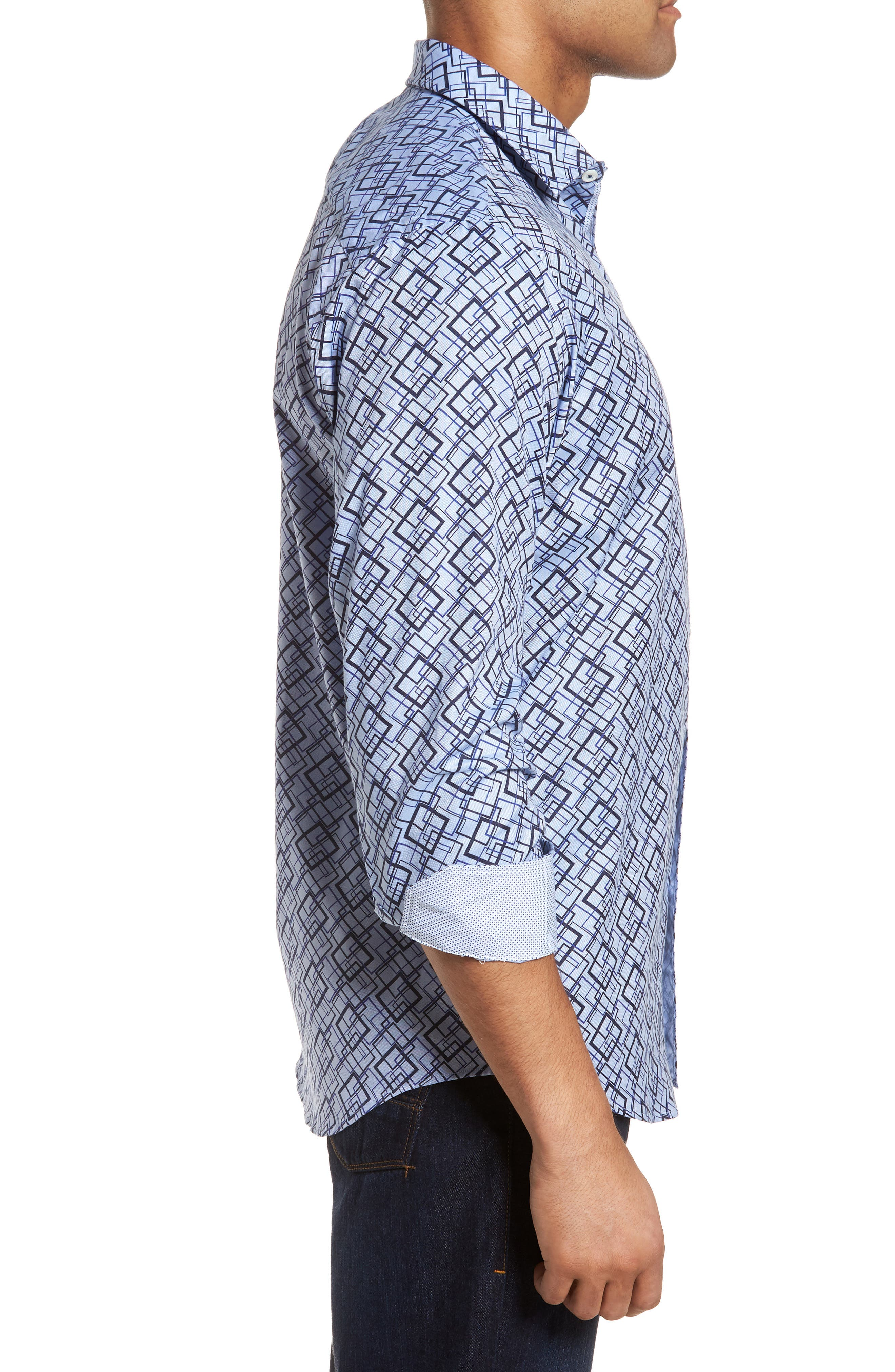 Classic Fit Woven Sport Shirt,                             Alternate thumbnail 3, color,                             422
