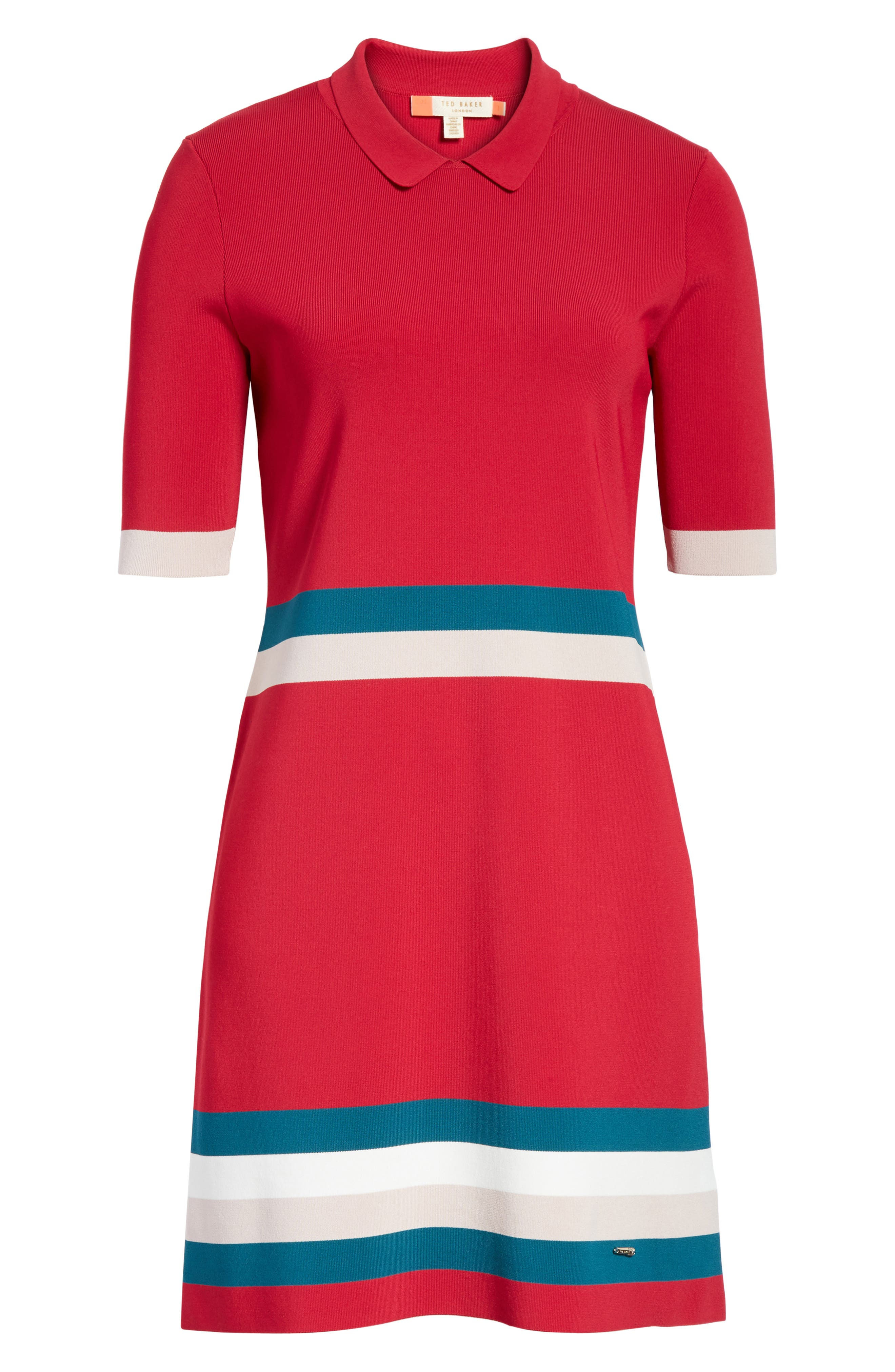 Colour by Numbers Border Stripe Dress,                             Alternate thumbnail 12, color,