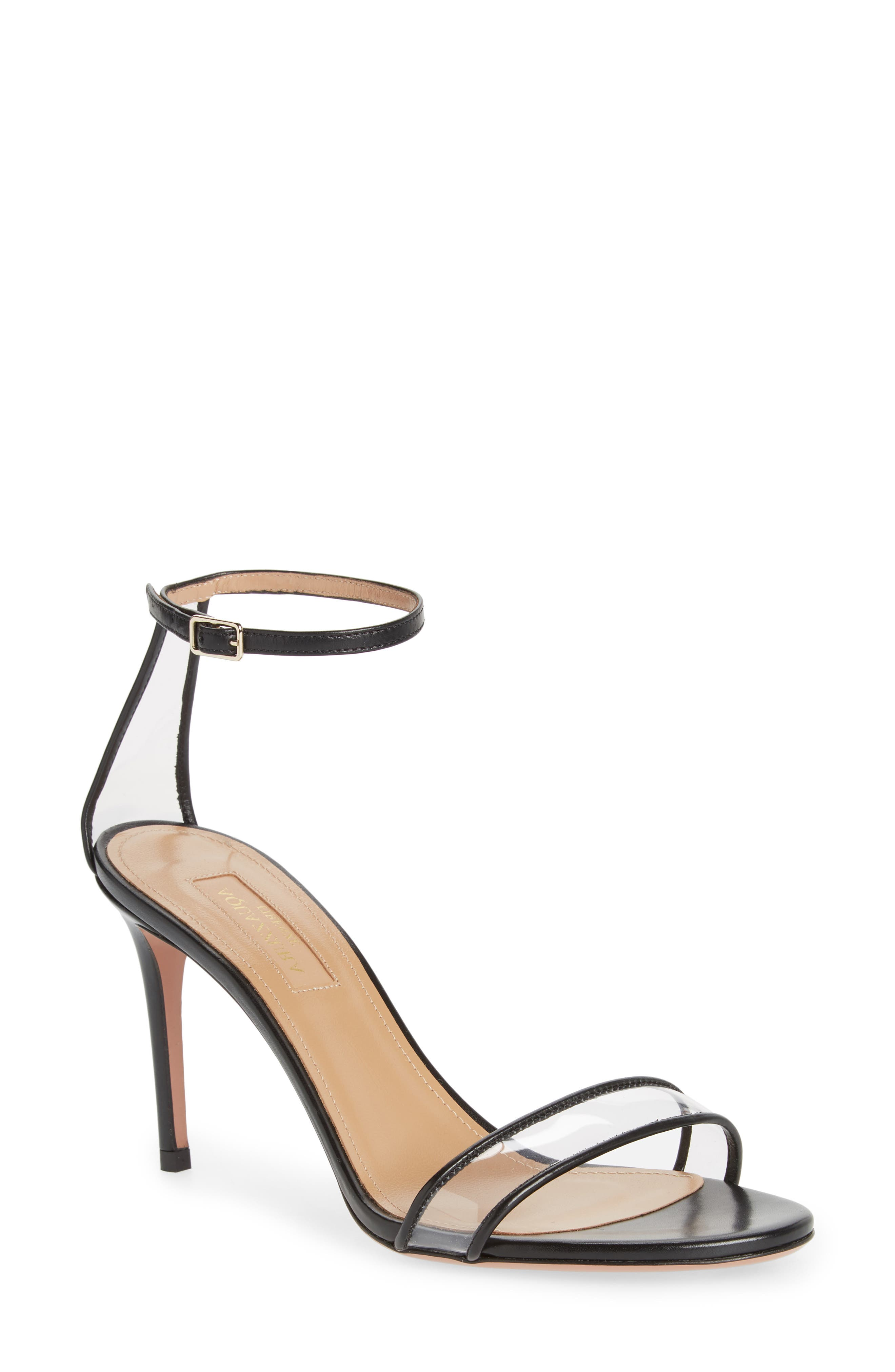 Minimalist Clear Sandal,                         Main,                         color, BLACK