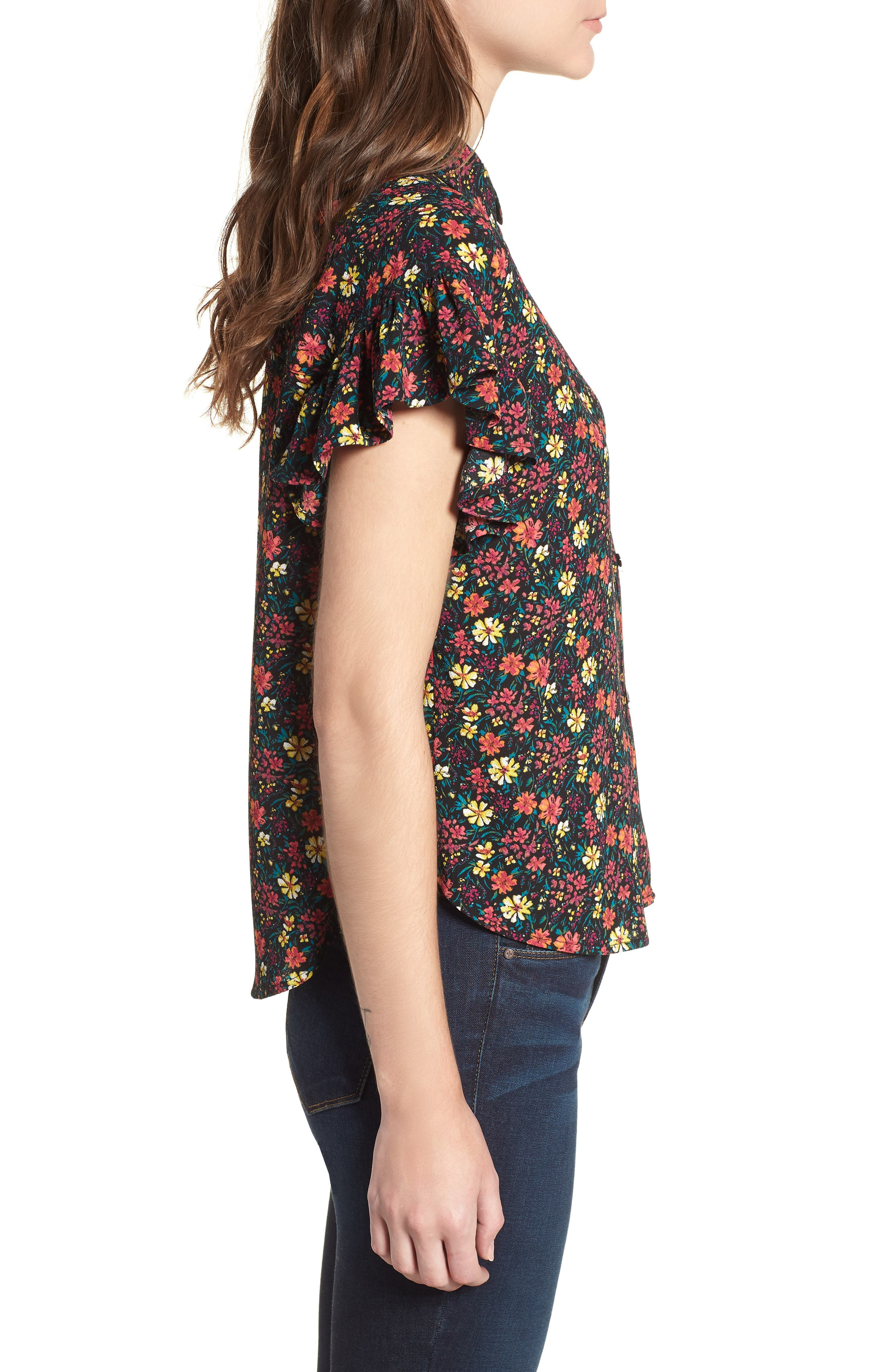 Ruffle Sleeve Print Shirt,                             Alternate thumbnail 3, color,                             BLACK MIX N MATCH A