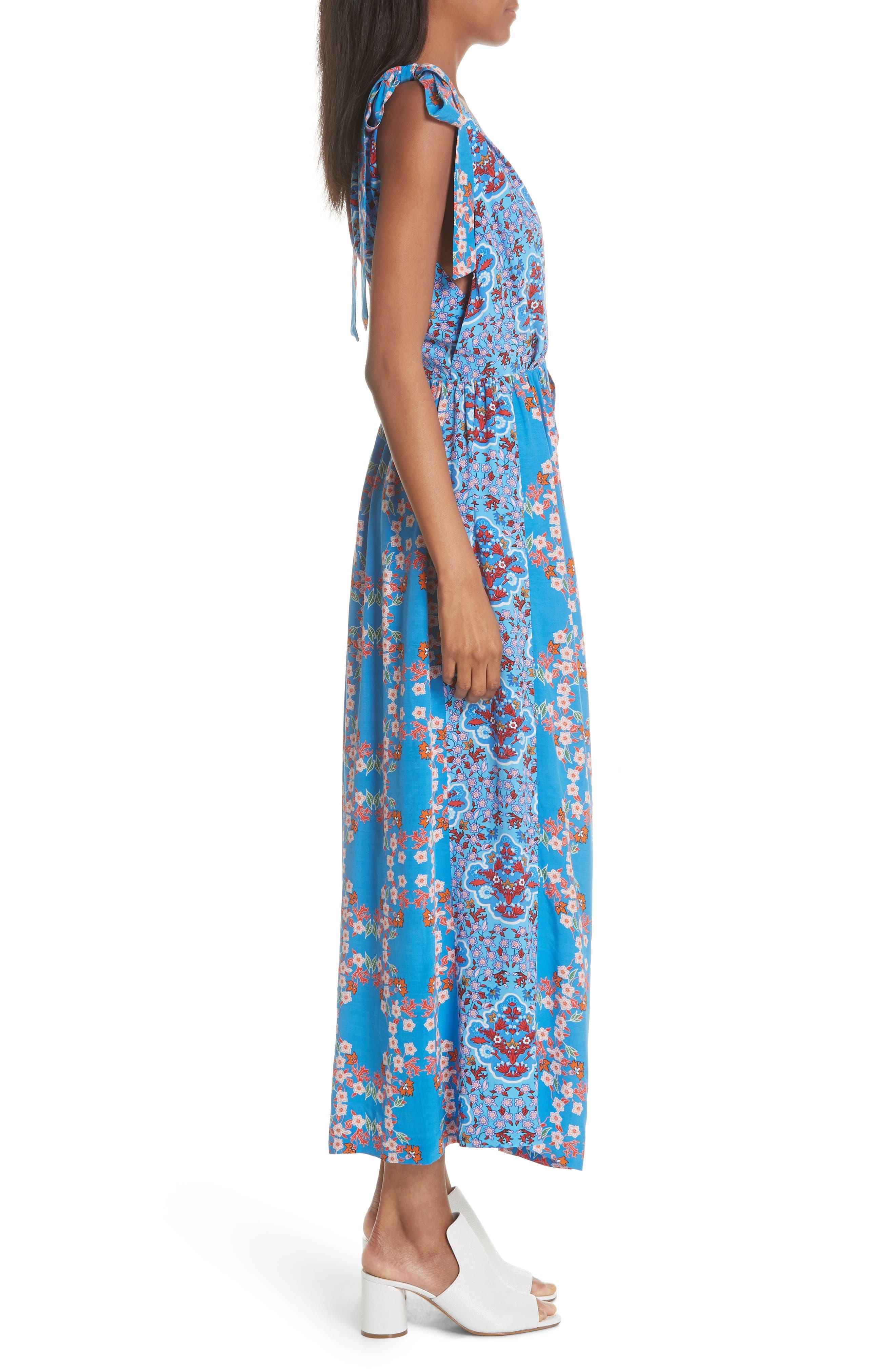 Floral Plunging Slit Dress,                             Alternate thumbnail 3, color,                             400