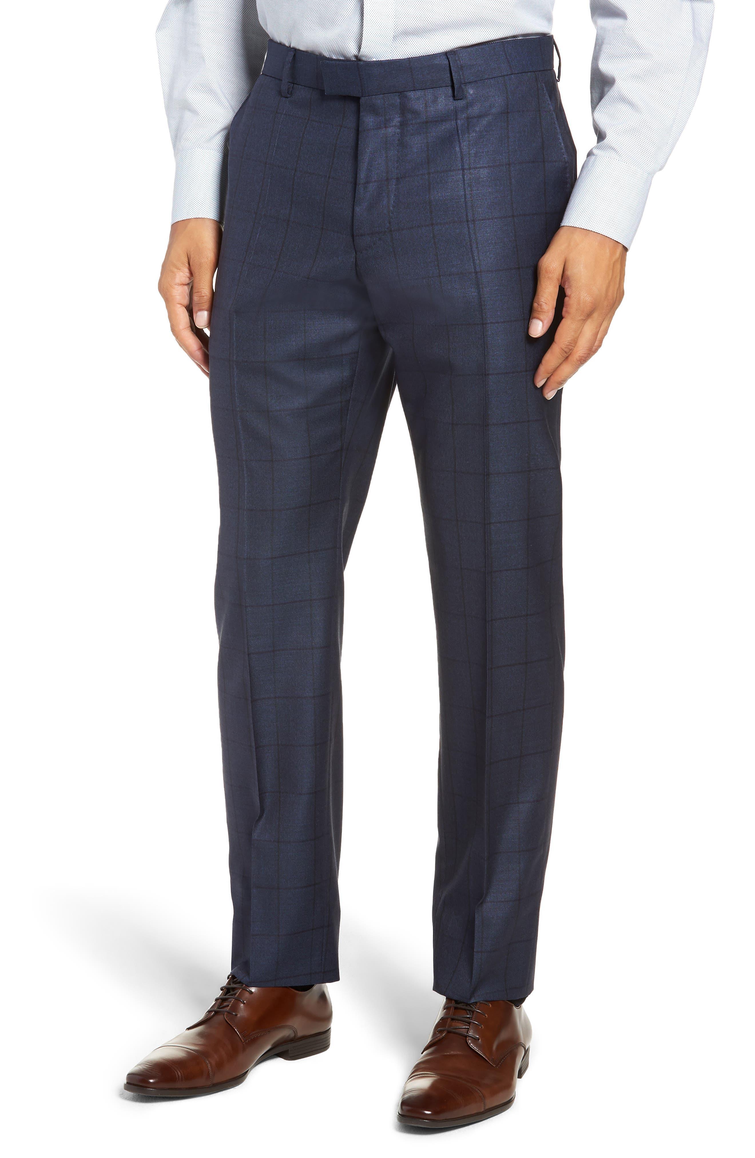 Harvers/Glover Trim Fit Windowpane Wool & Silk Suit,                             Alternate thumbnail 6, color,                             OPEN BLUE