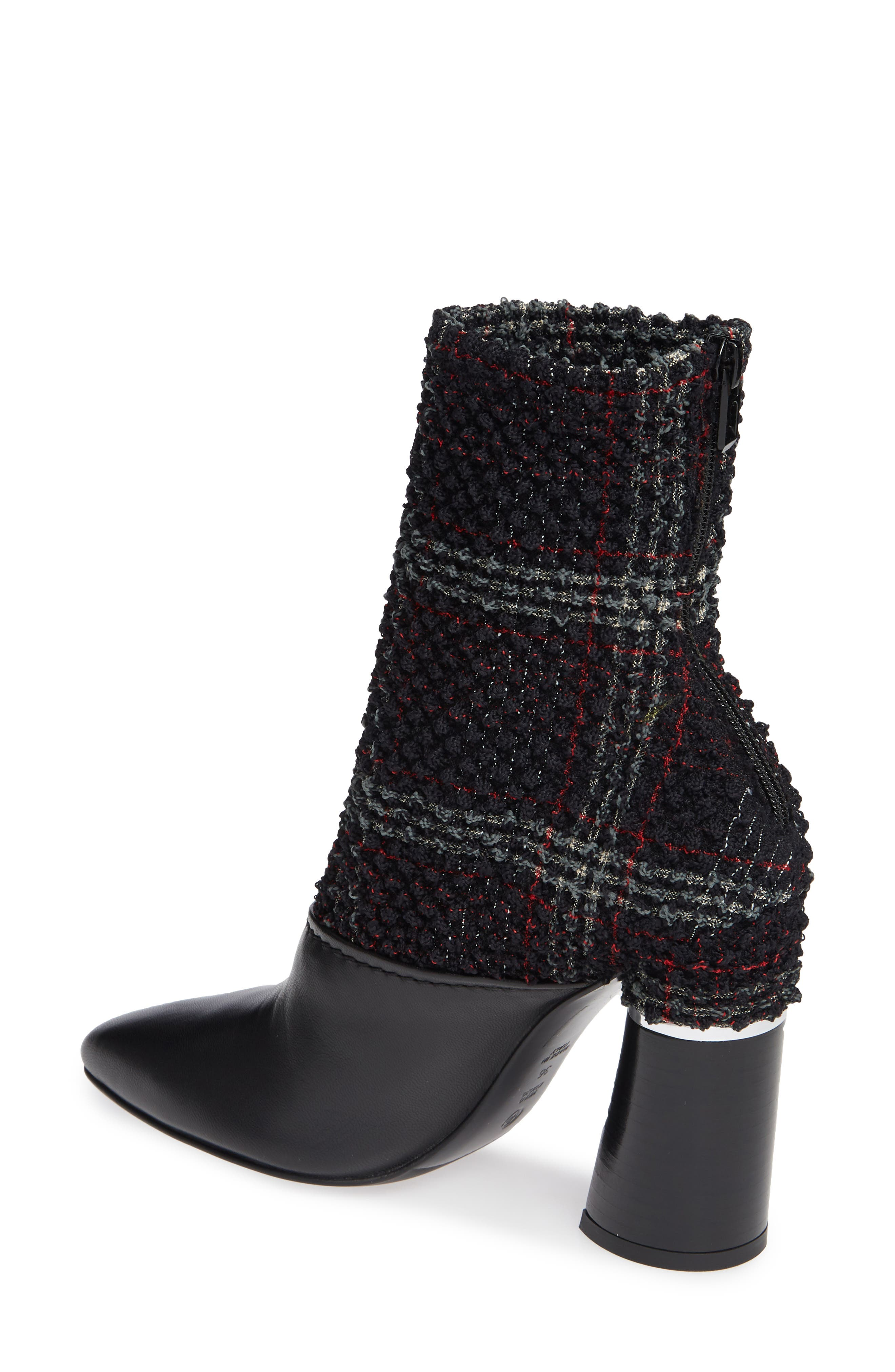 Kyoto Leather Bootie,                             Alternate thumbnail 2, color,                             BLACK/ GREEN/ RED CHECK