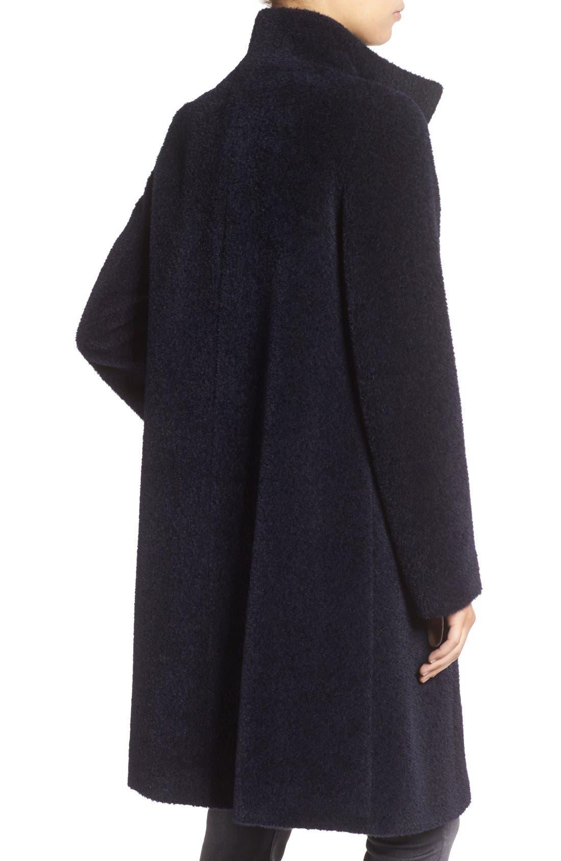 Stand Collar Wool & Alpaca Long A-Line Coat,                             Alternate thumbnail 2, color,                             413
