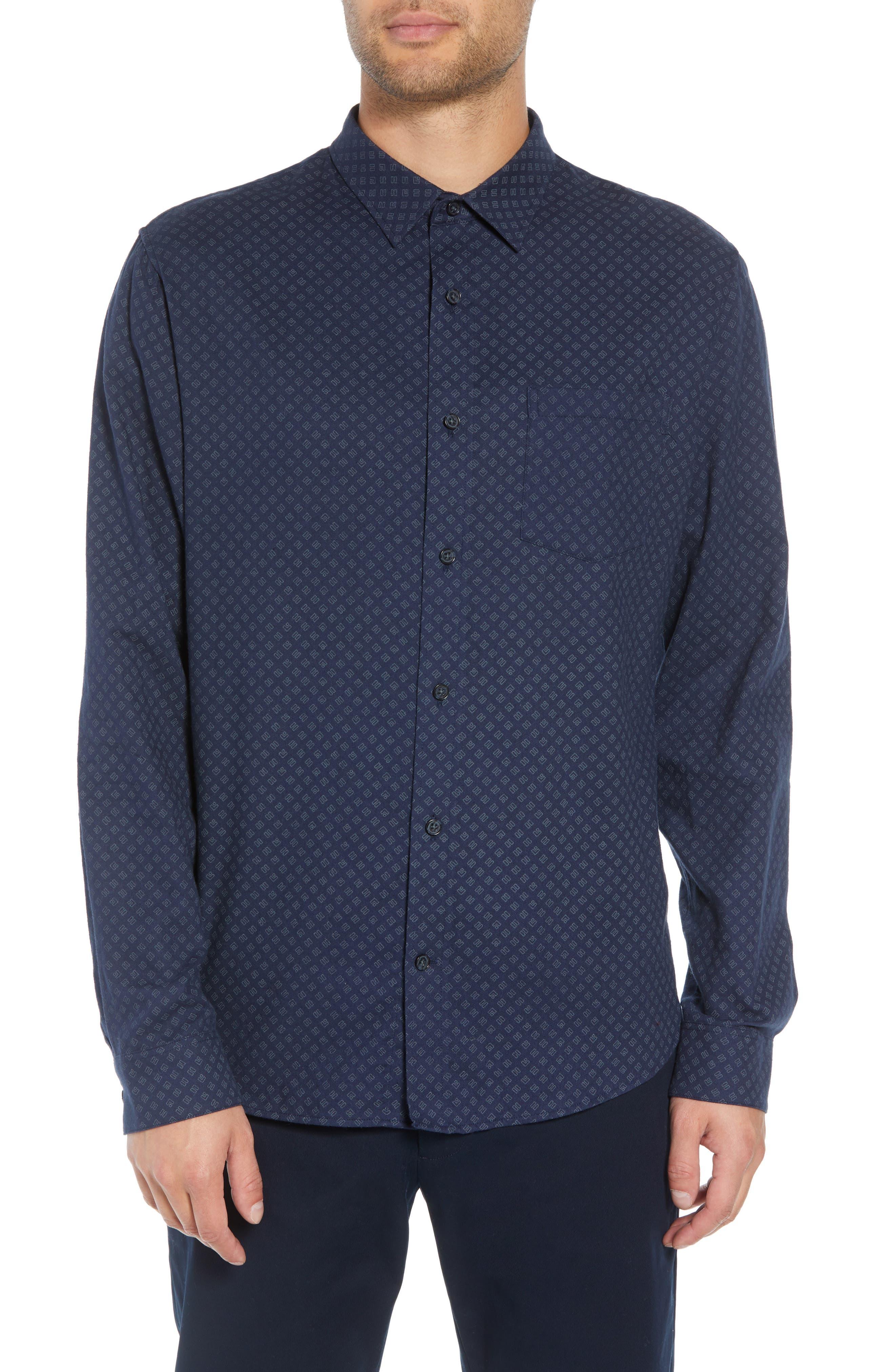 Classic Fit Square Print Sport Shirt,                         Main,                         color, COASTAL