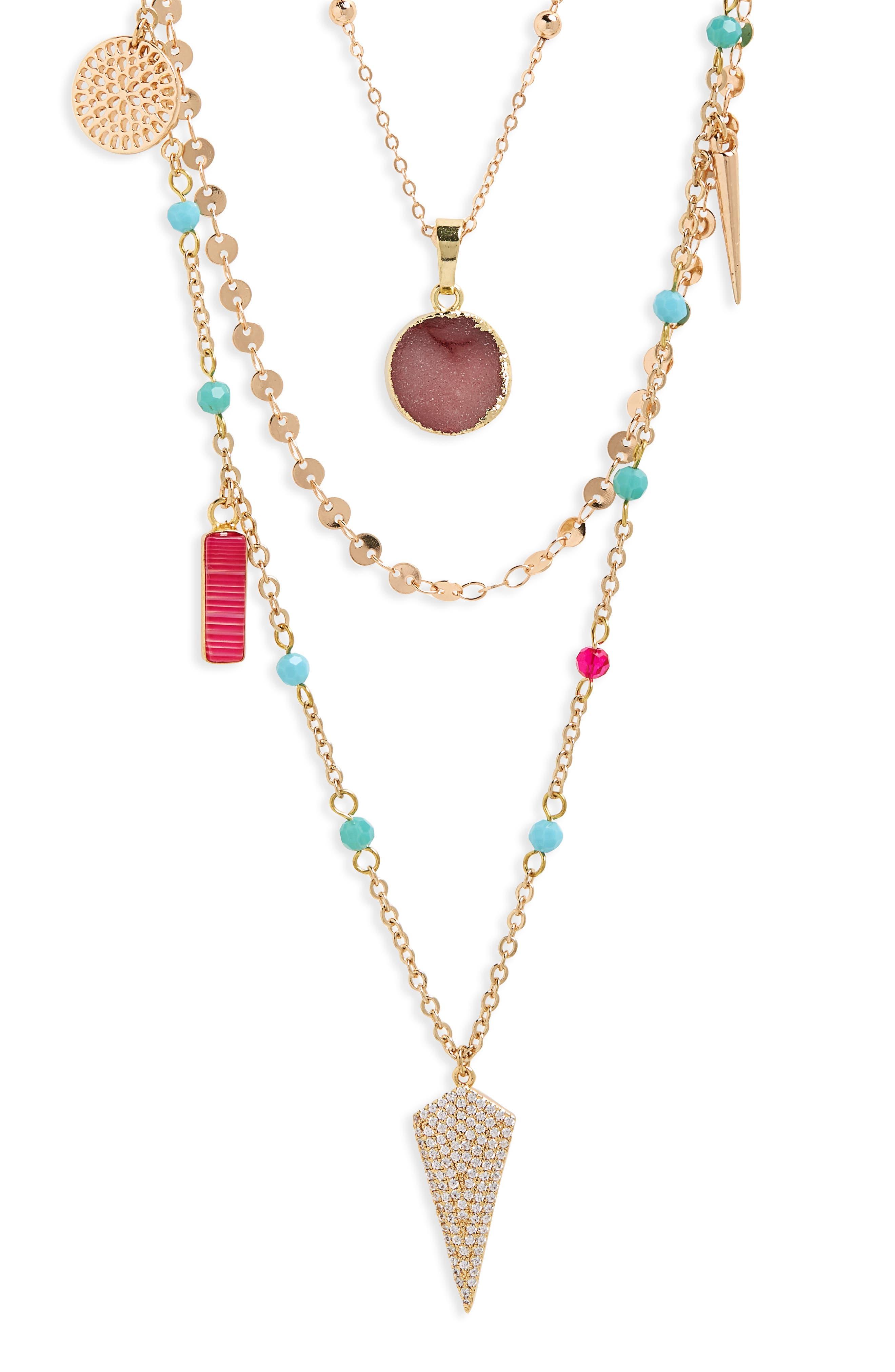 Multi Stone Layered Necklace,                         Main,                         color, MULTI