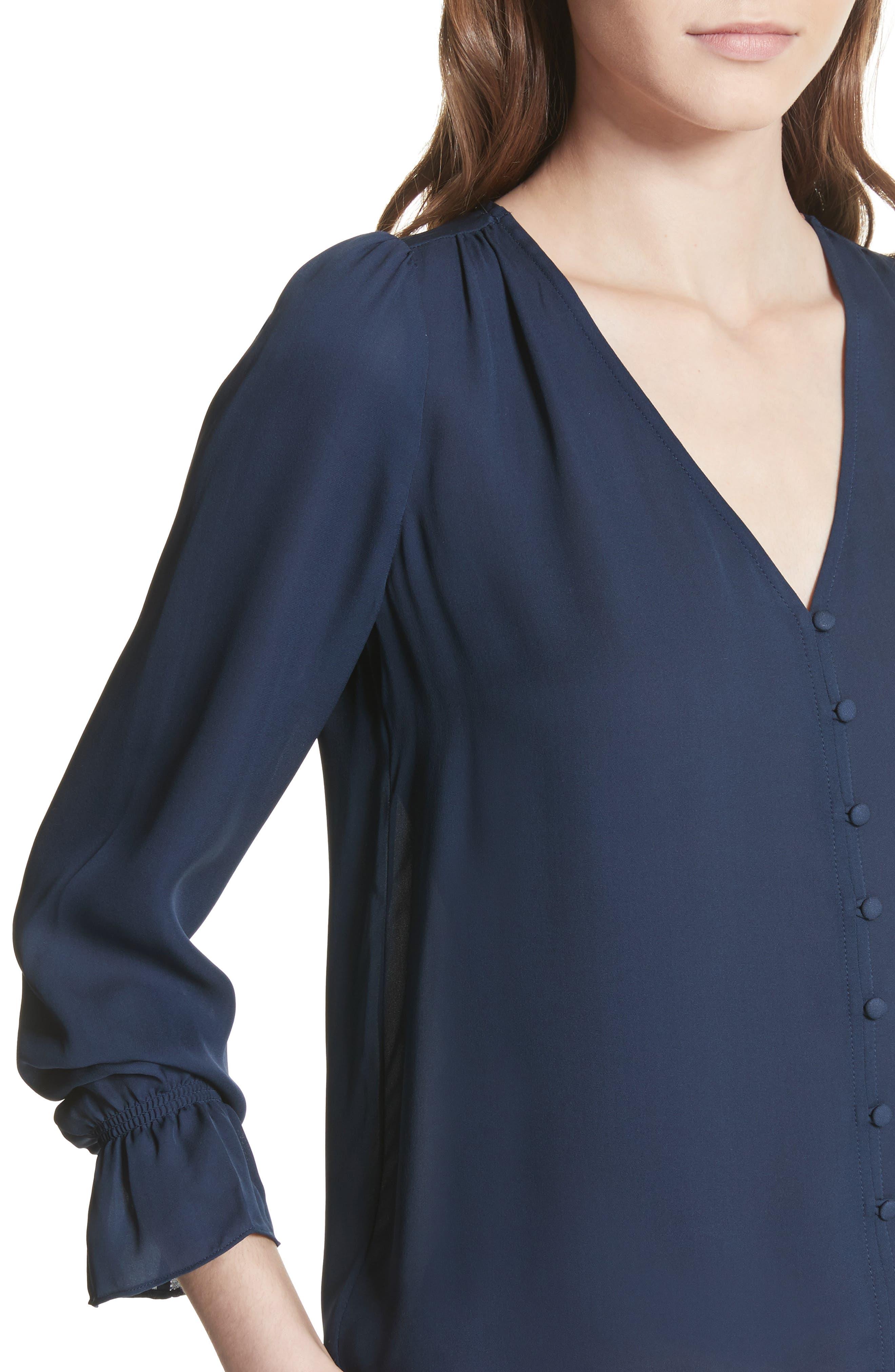 Bolona Silk Gathered Sleeve Top,                             Alternate thumbnail 4, color,                             410