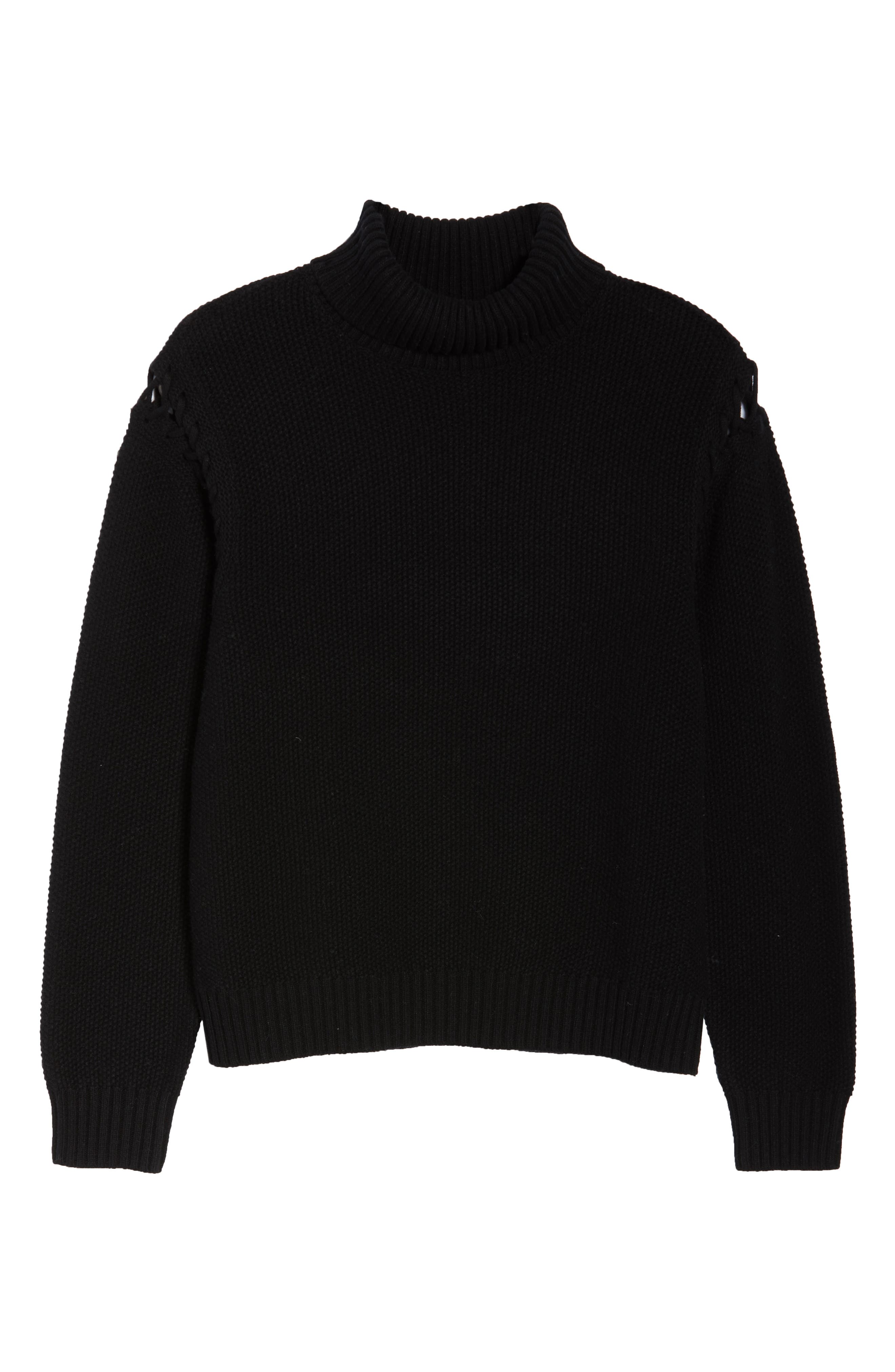 Gisele Turtleneck Sweater,                             Alternate thumbnail 6, color,                             BLACK