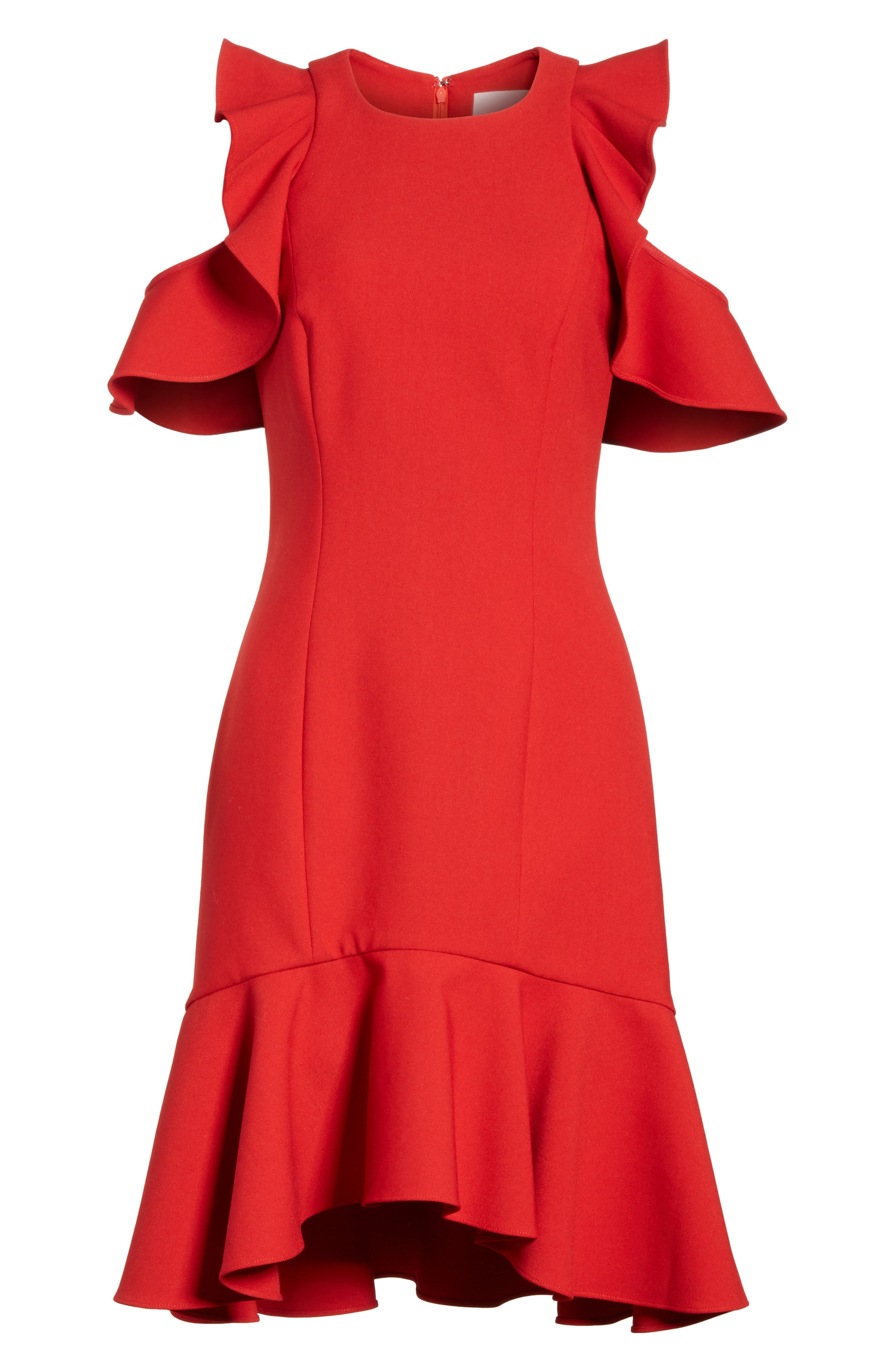Micah Ruffle Cold Shoulder Dress,                             Alternate thumbnail 6, color,                             CARMINE