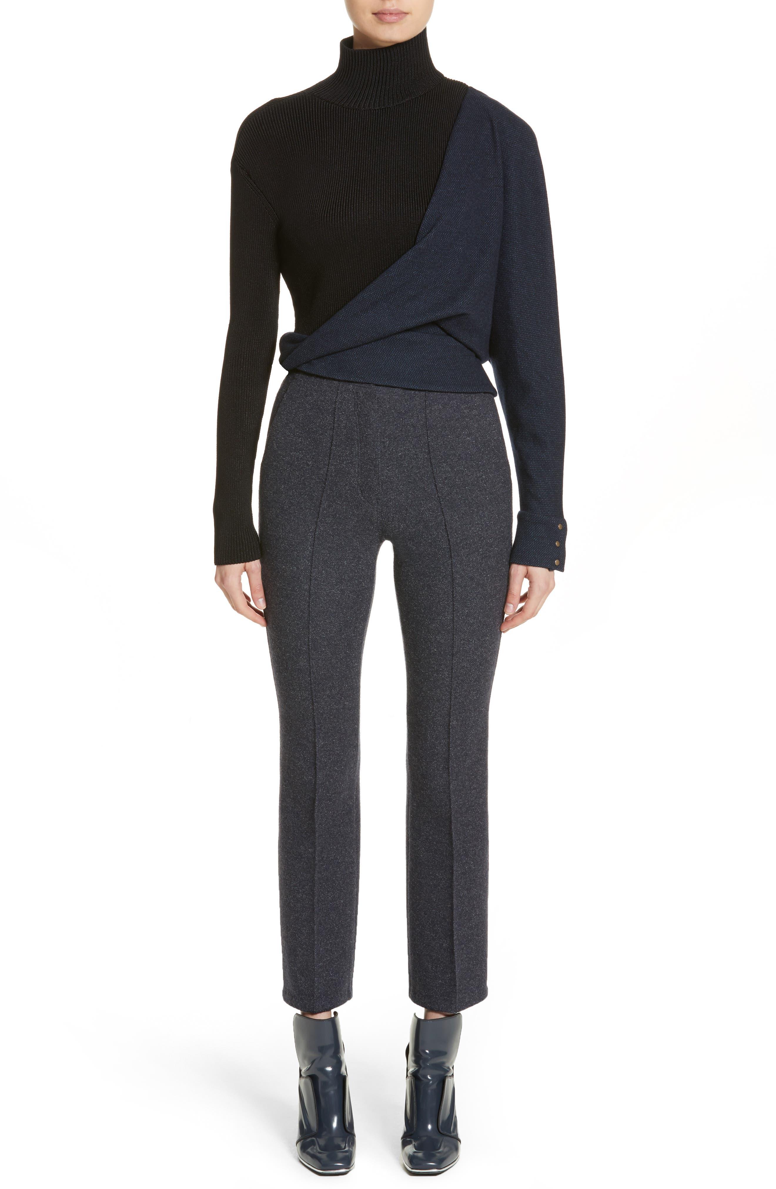 Tweed Jersey & Knit Turtleneck Sweater,                             Alternate thumbnail 6, color,                             400