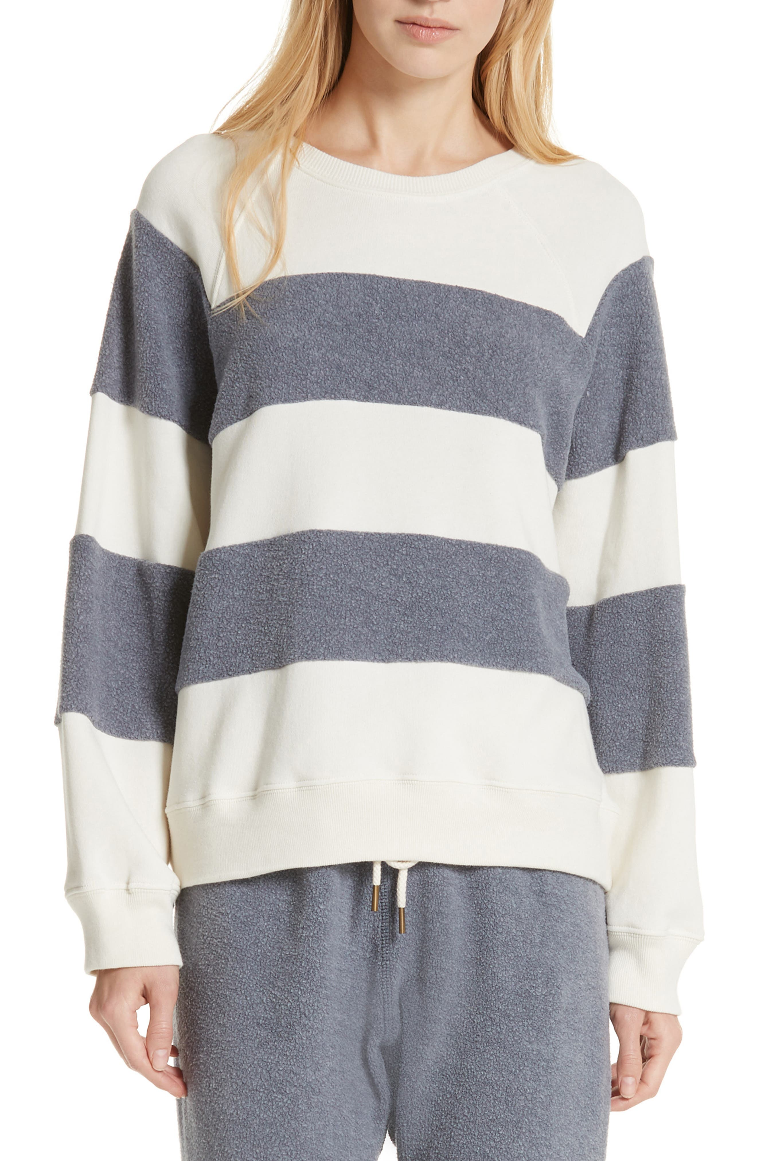 Fleece Stripe Slouch Sweatshirt,                             Main thumbnail 1, color,                             ENGINE BLUE AND CREAM