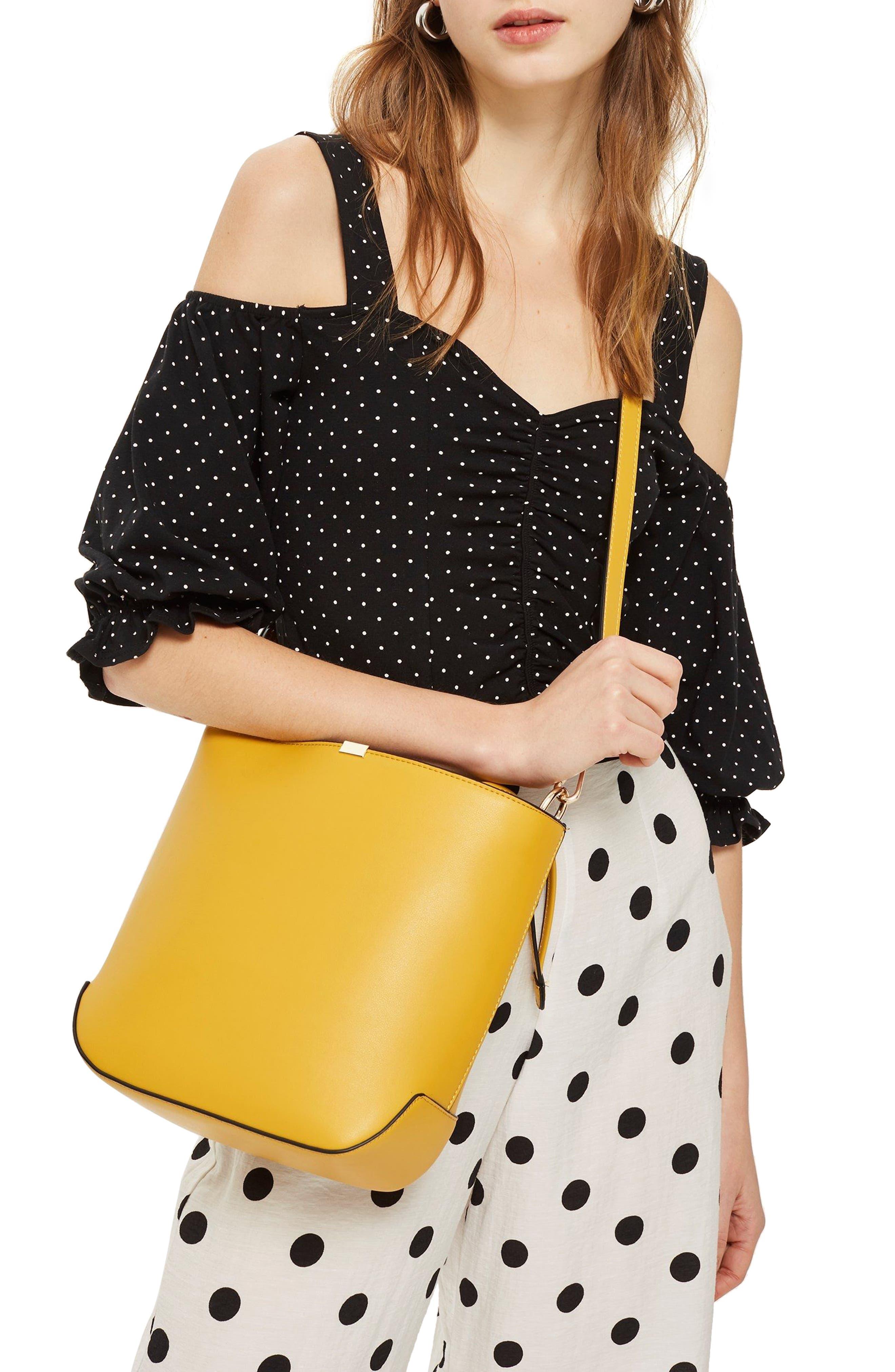 Romy Bucket Shoulder Handbag,                             Alternate thumbnail 2, color,                             YELLOW MULTI