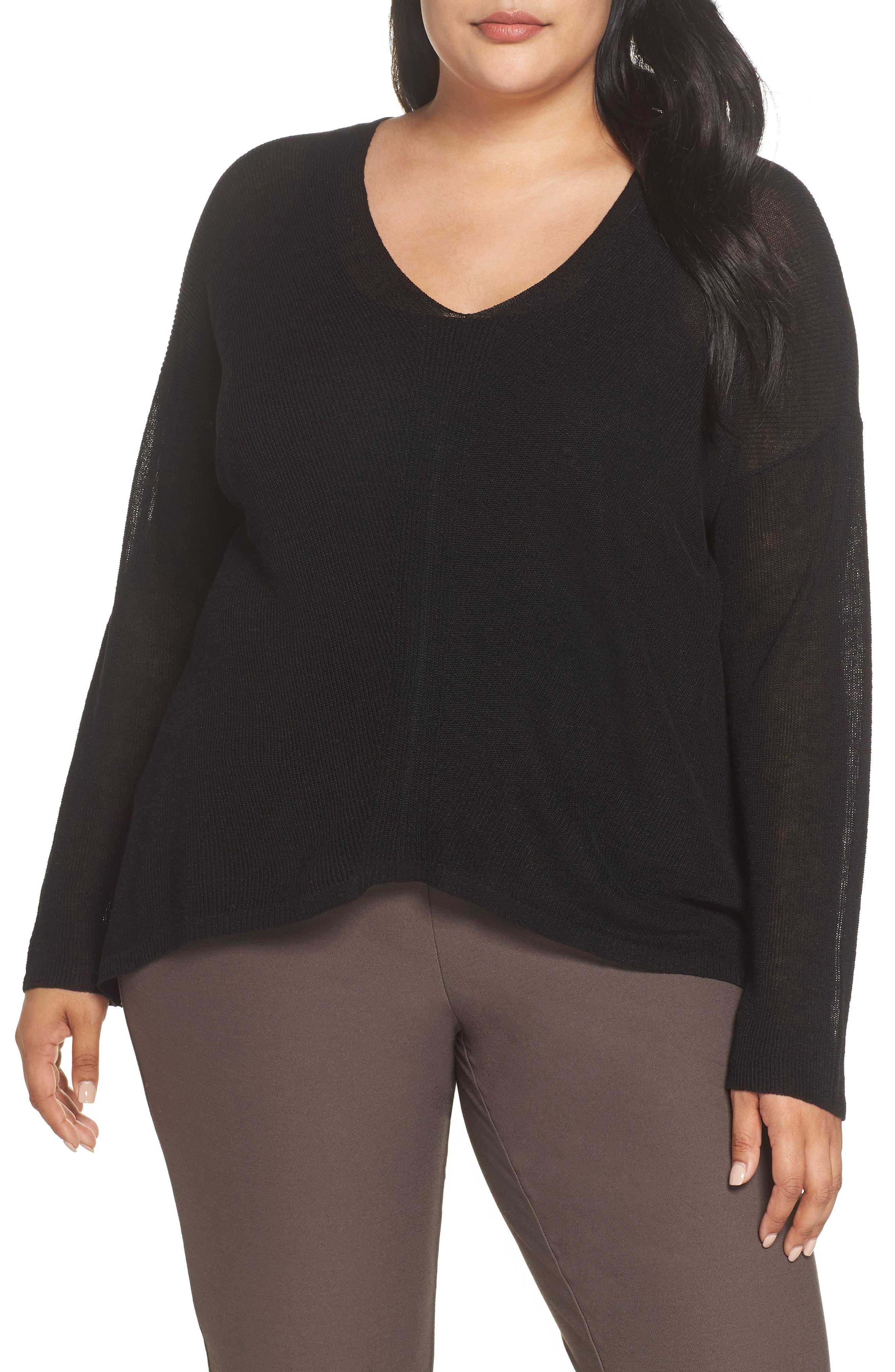 Boxy Organic Linen Blend Sweater,                             Main thumbnail 1, color,                             001