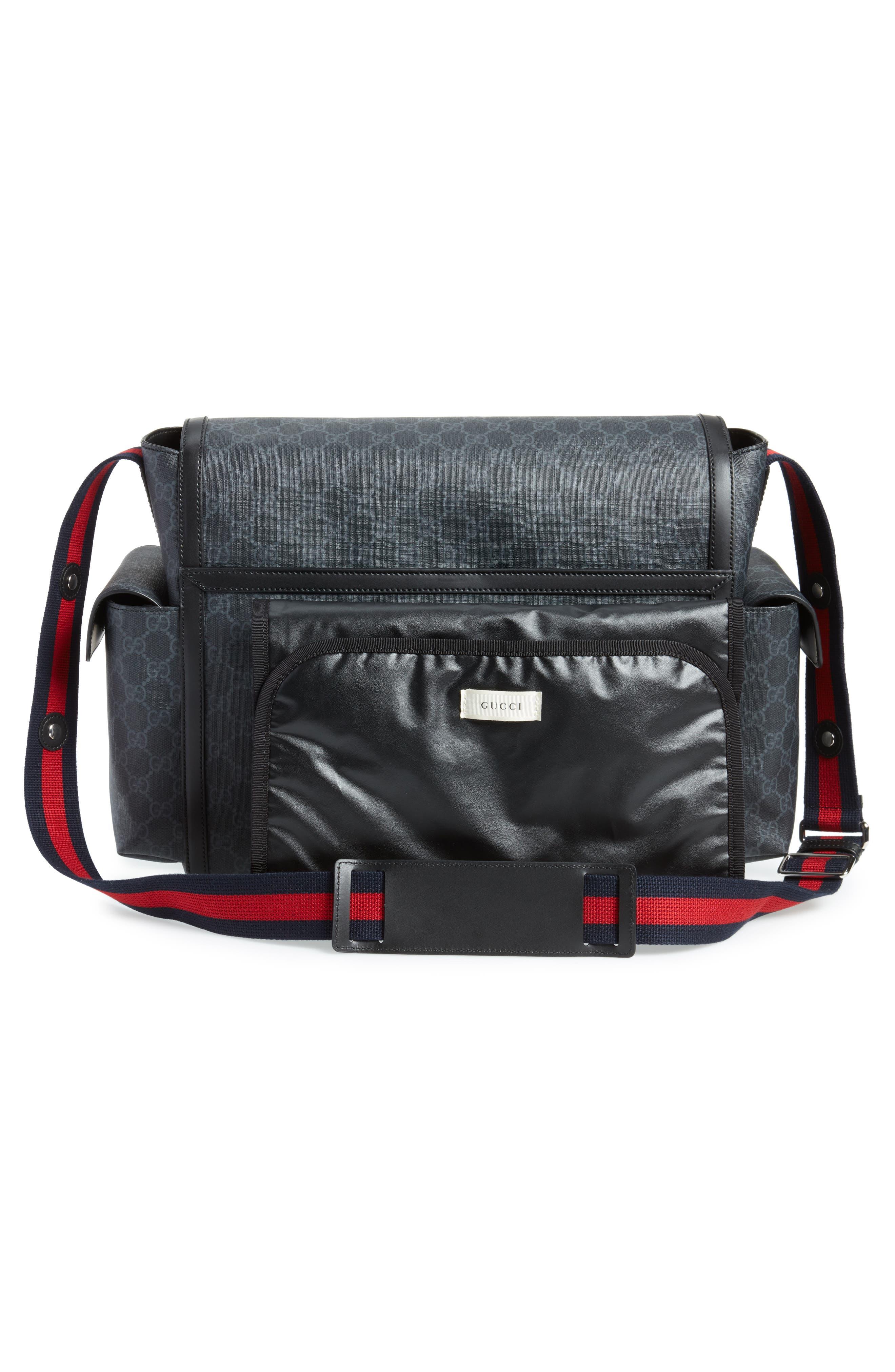 GG Supreme Canvas Diaper Bag,                             Alternate thumbnail 3, color,                             BLACK