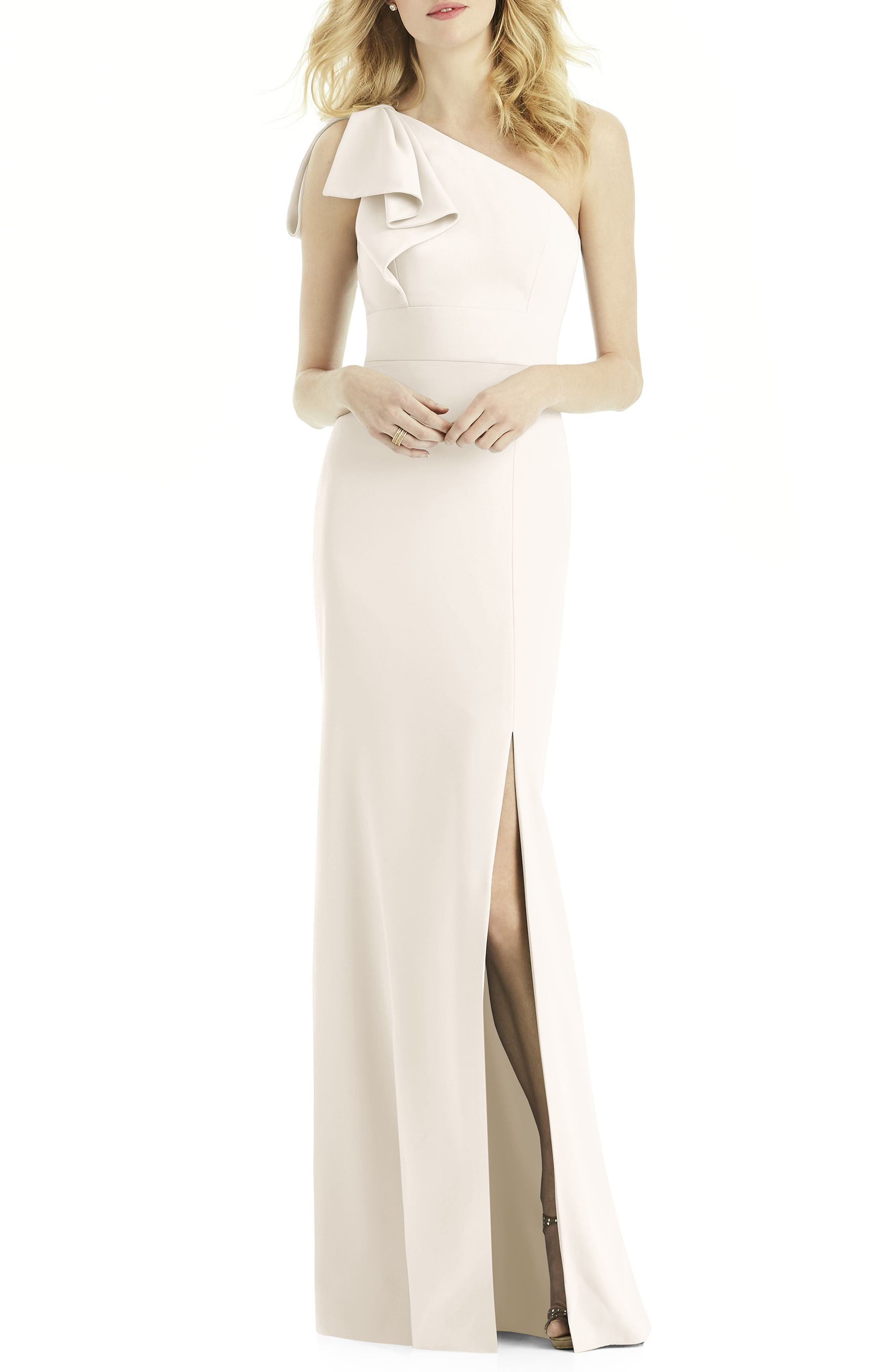 After Six Bow One-Shoulder Gown, Ivory