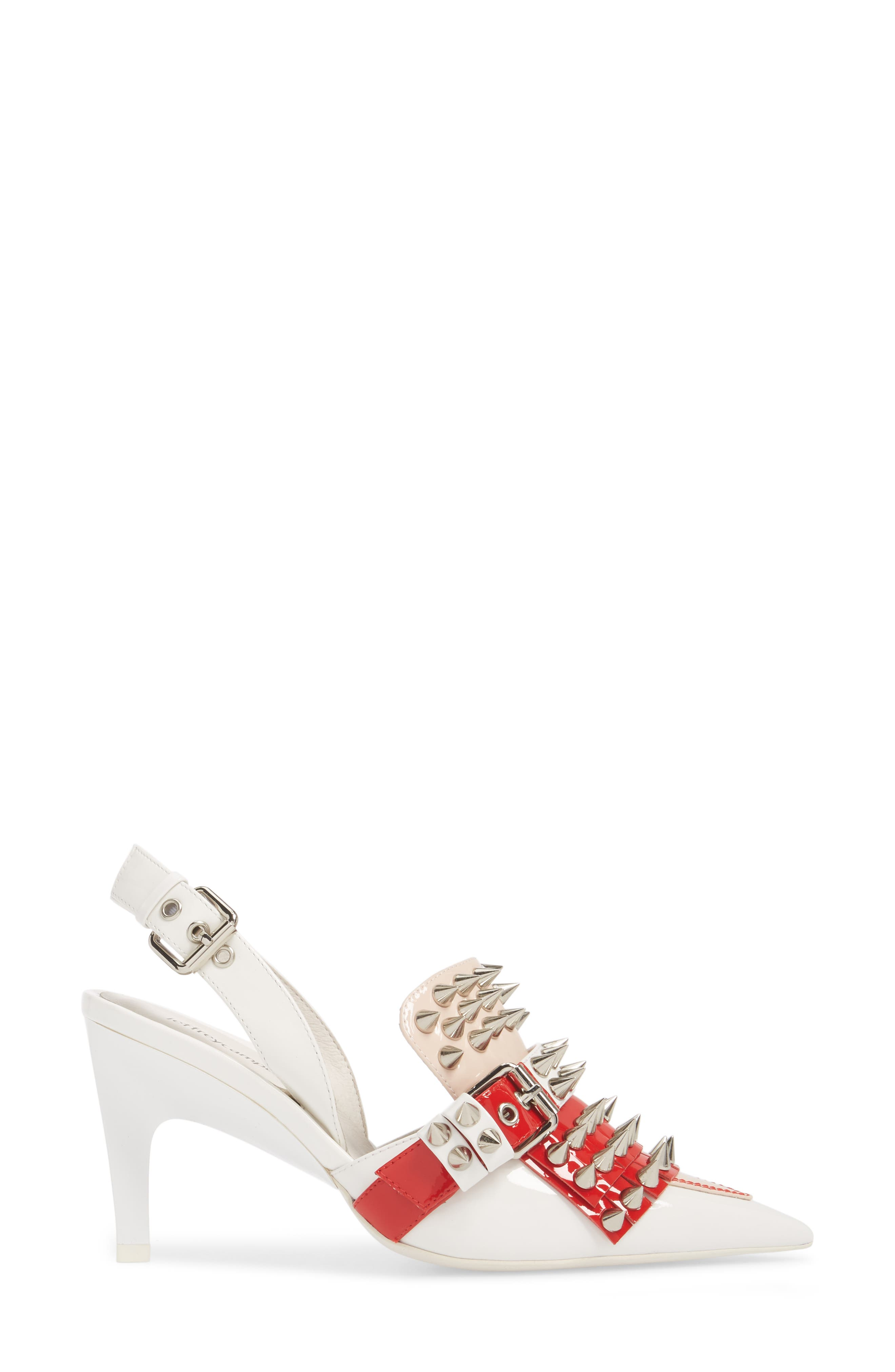 Vicious-2 Studded Loafer Pump,                             Alternate thumbnail 3, color,                             WHITE/ RED/ PINK PATENT/ WHITE