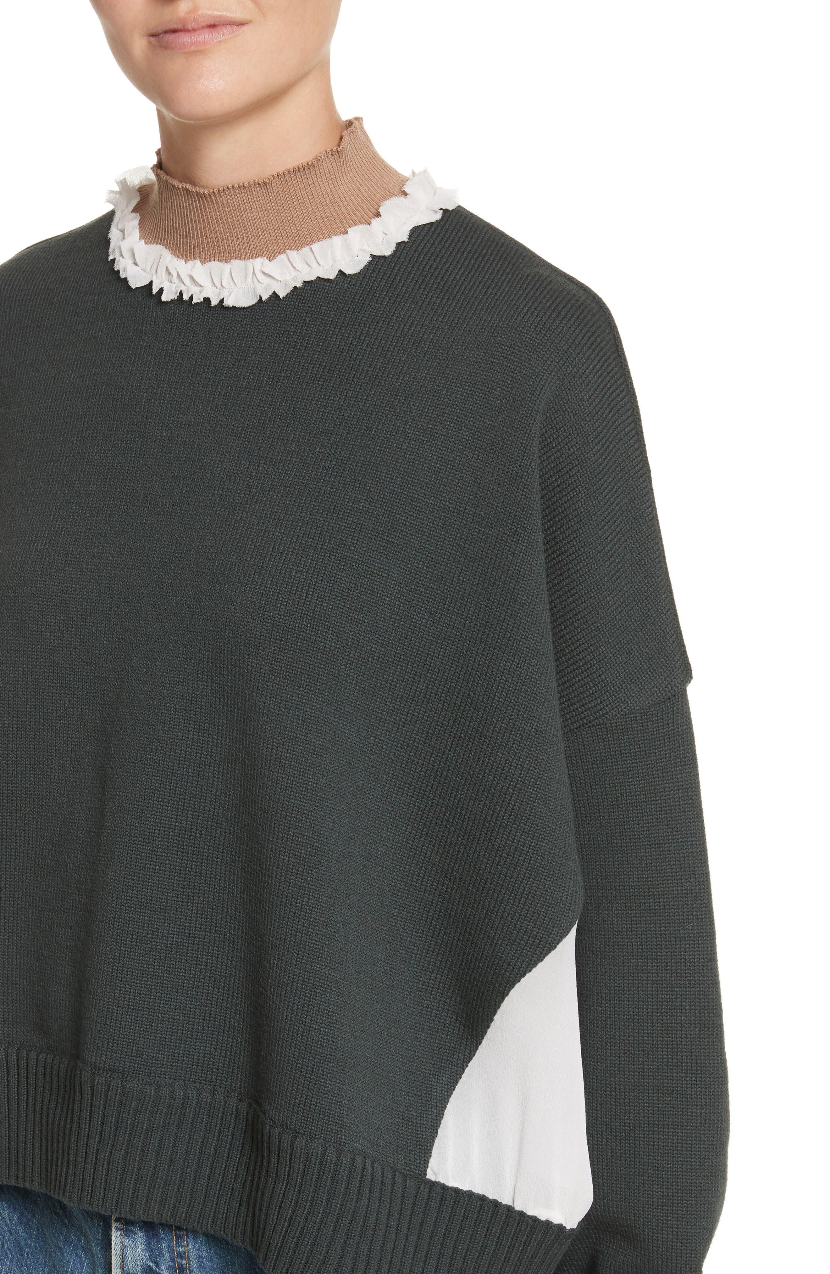 Ruffled Mock Neck Sweater,                             Alternate thumbnail 4, color,                             200
