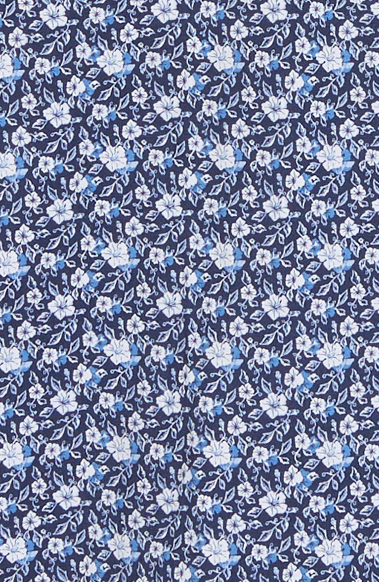 Regular Fit Floral Print Knit Sport Shirt,                             Alternate thumbnail 6, color,                             NAVY