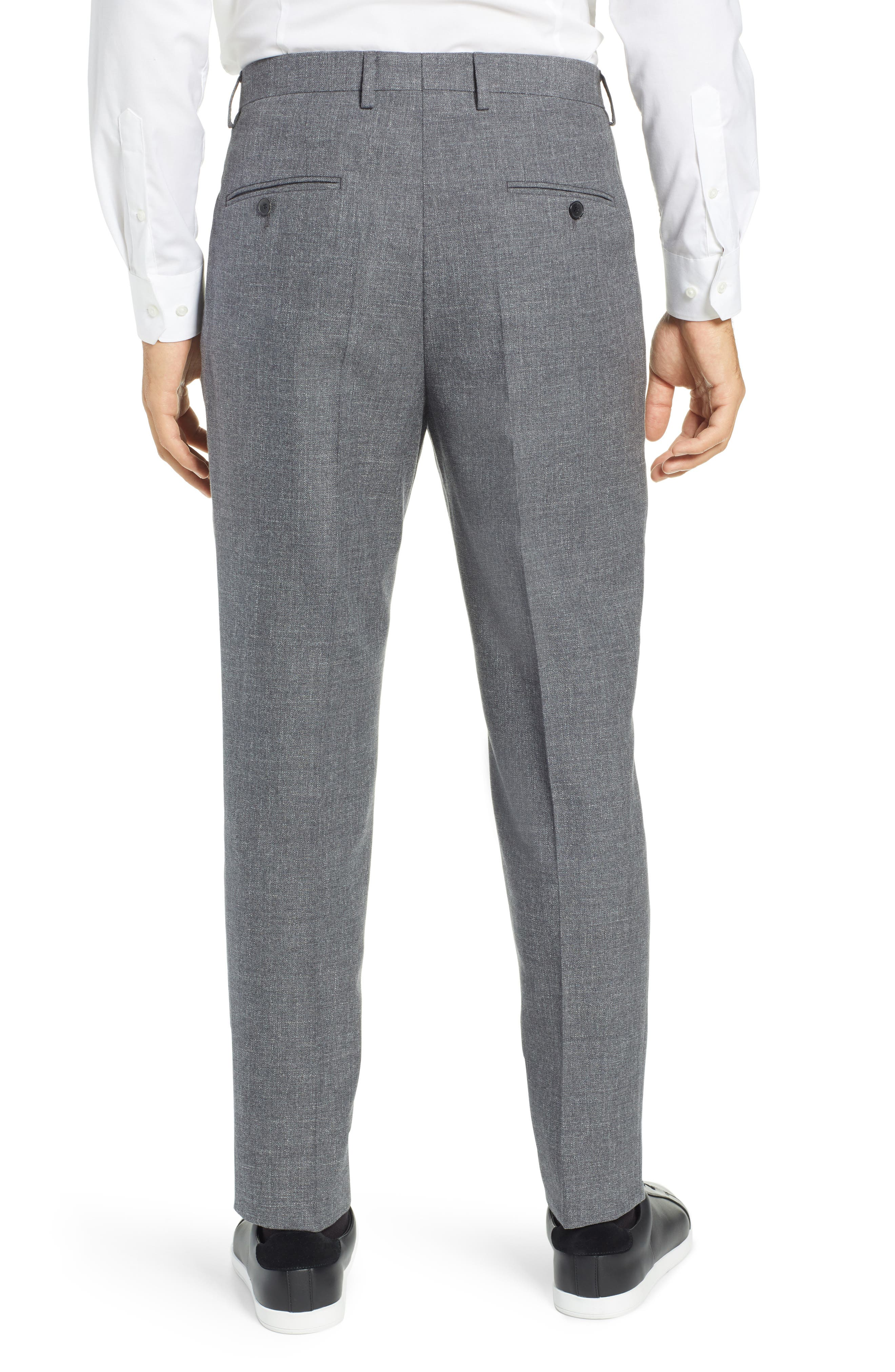 Ole Pleated Solid Wool & Cotton Trousers,                             Alternate thumbnail 2, color,                             MEDIUM GREY