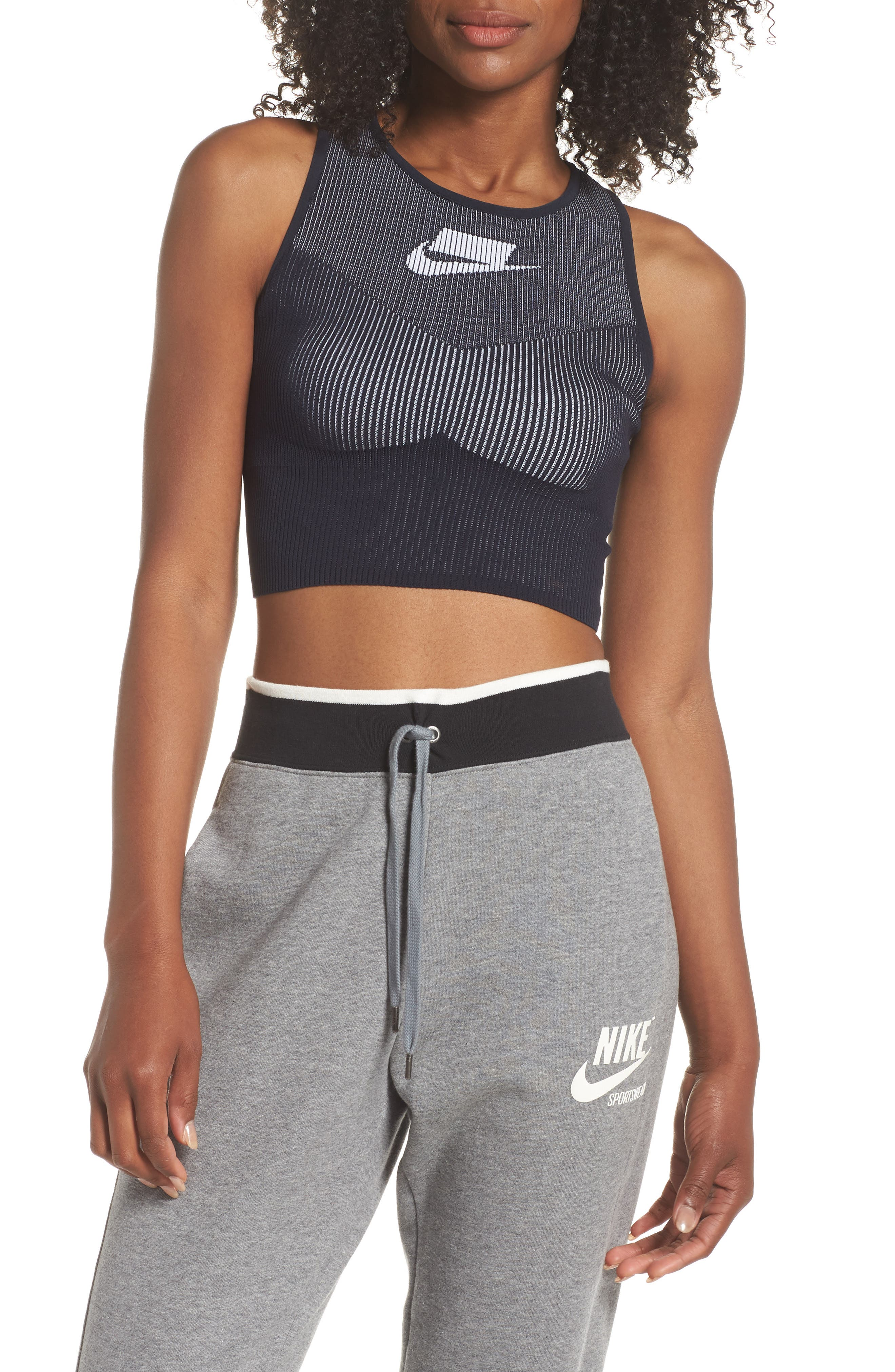 Sportswear Women's Tech Knit Crop Tank,                             Alternate thumbnail 3, color,                             DARK OBSIDIAN/ WHITE