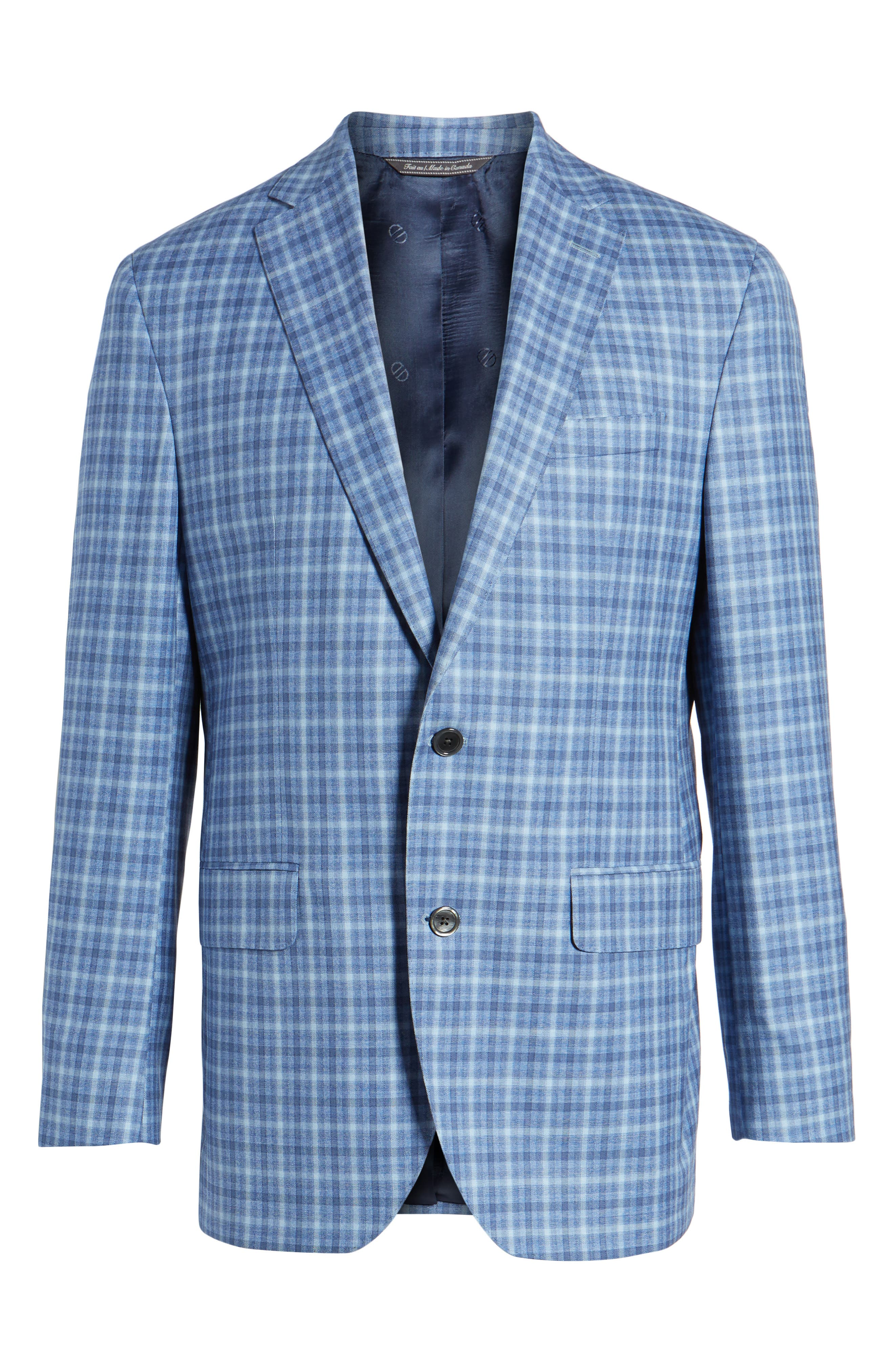 Arnold Classic Fit Plaid Wool Sport Coat,                             Alternate thumbnail 5, color,                             400