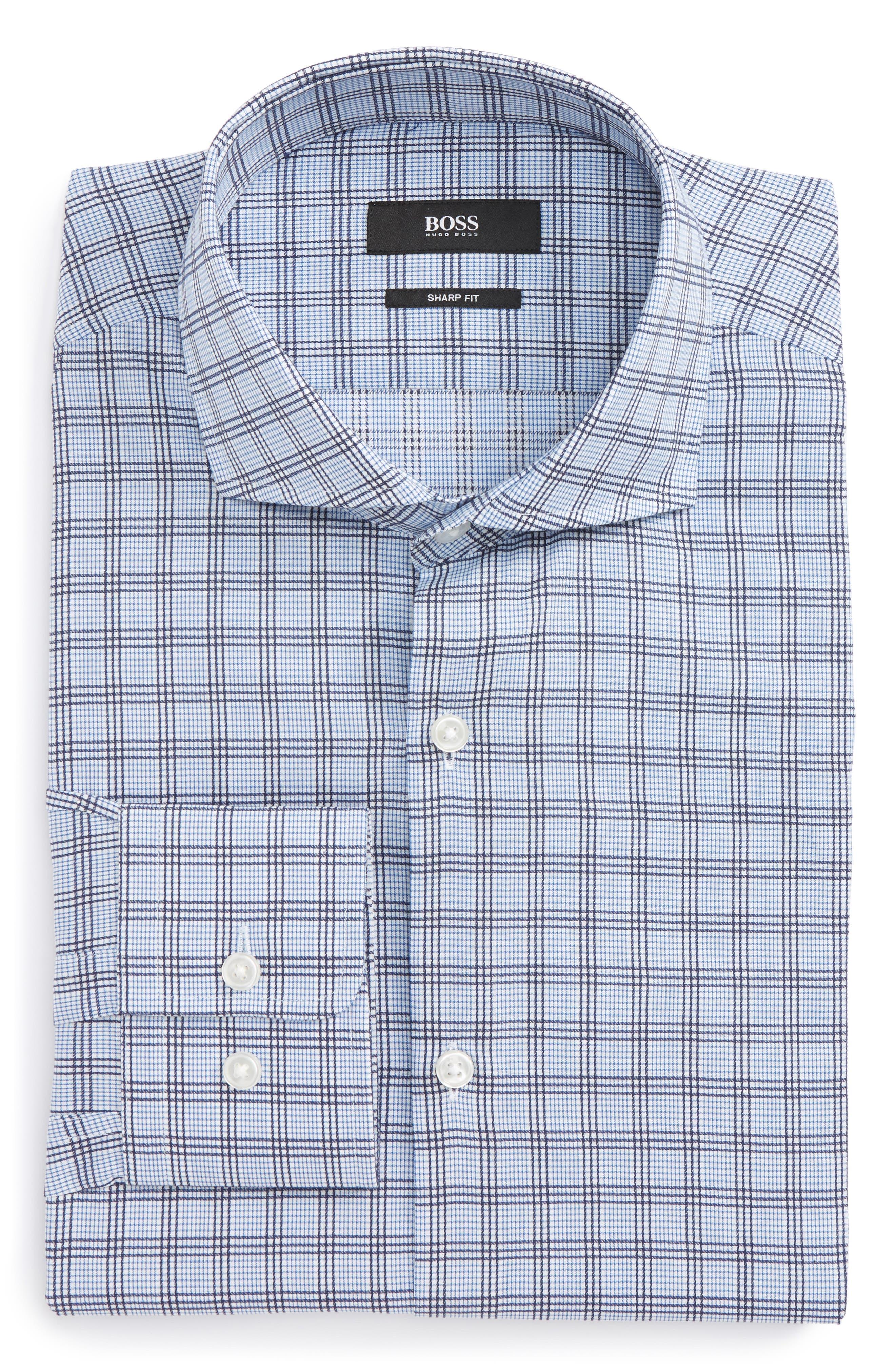 Mark Sharp Fit Check Dress Shirt,                         Main,                         color, 420